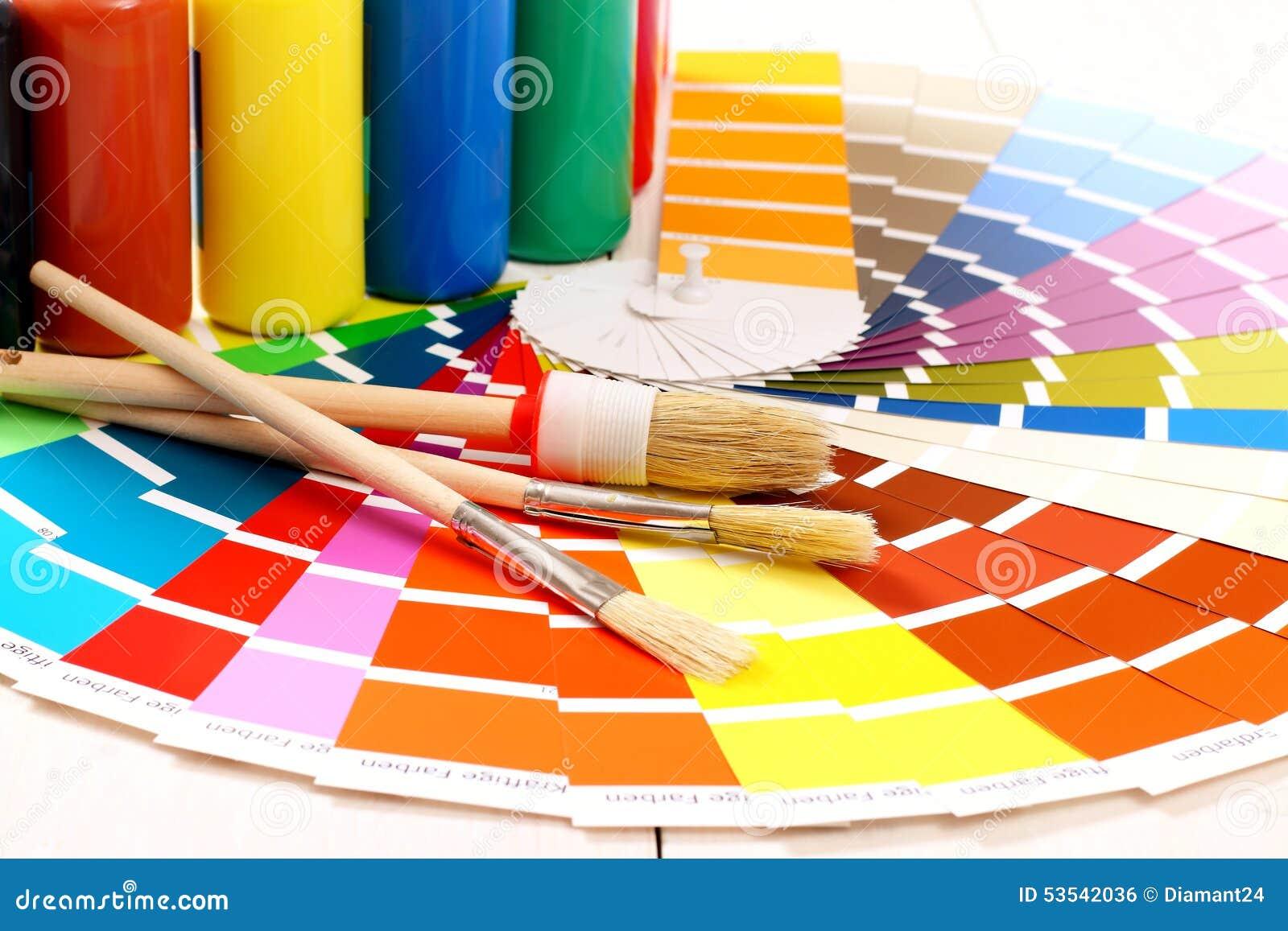Pantone Color Palette, Brush On White Background Stock ...