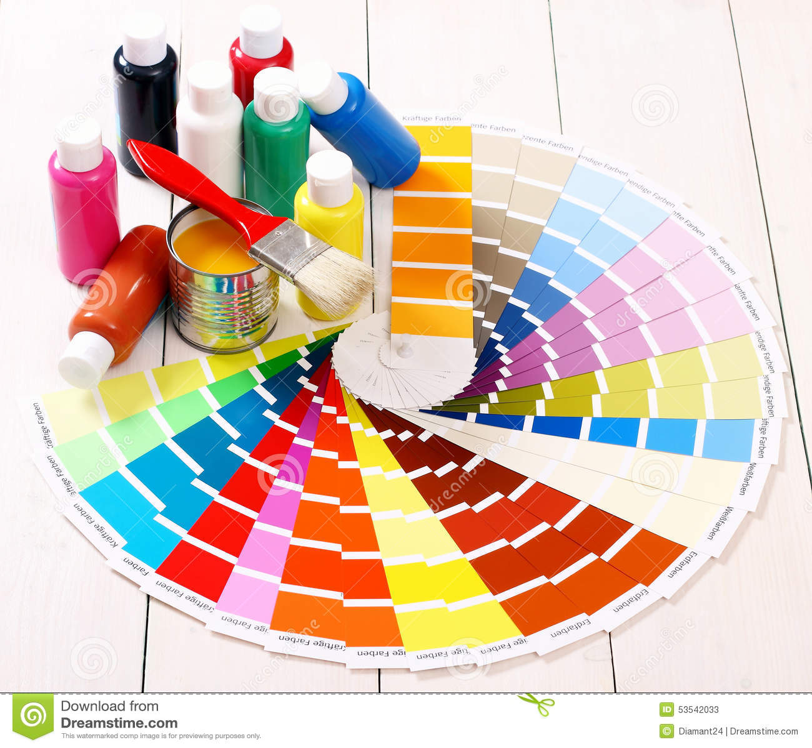 Pantone Color Palette, Brush On White Wooden Stock Image ...