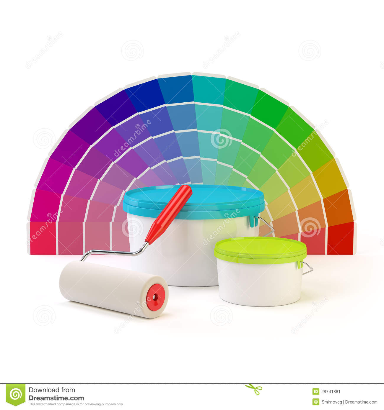 pantone color palette paint roller and cans of paint stock image