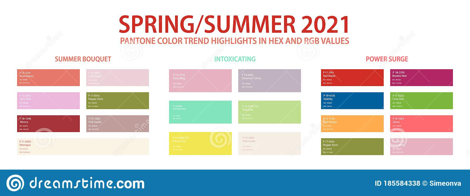 Pantone Color Palette For Spring Summer 2021 In Hex And Rgb Values Stock Vector Illustration Of Isolated Blue 185584338