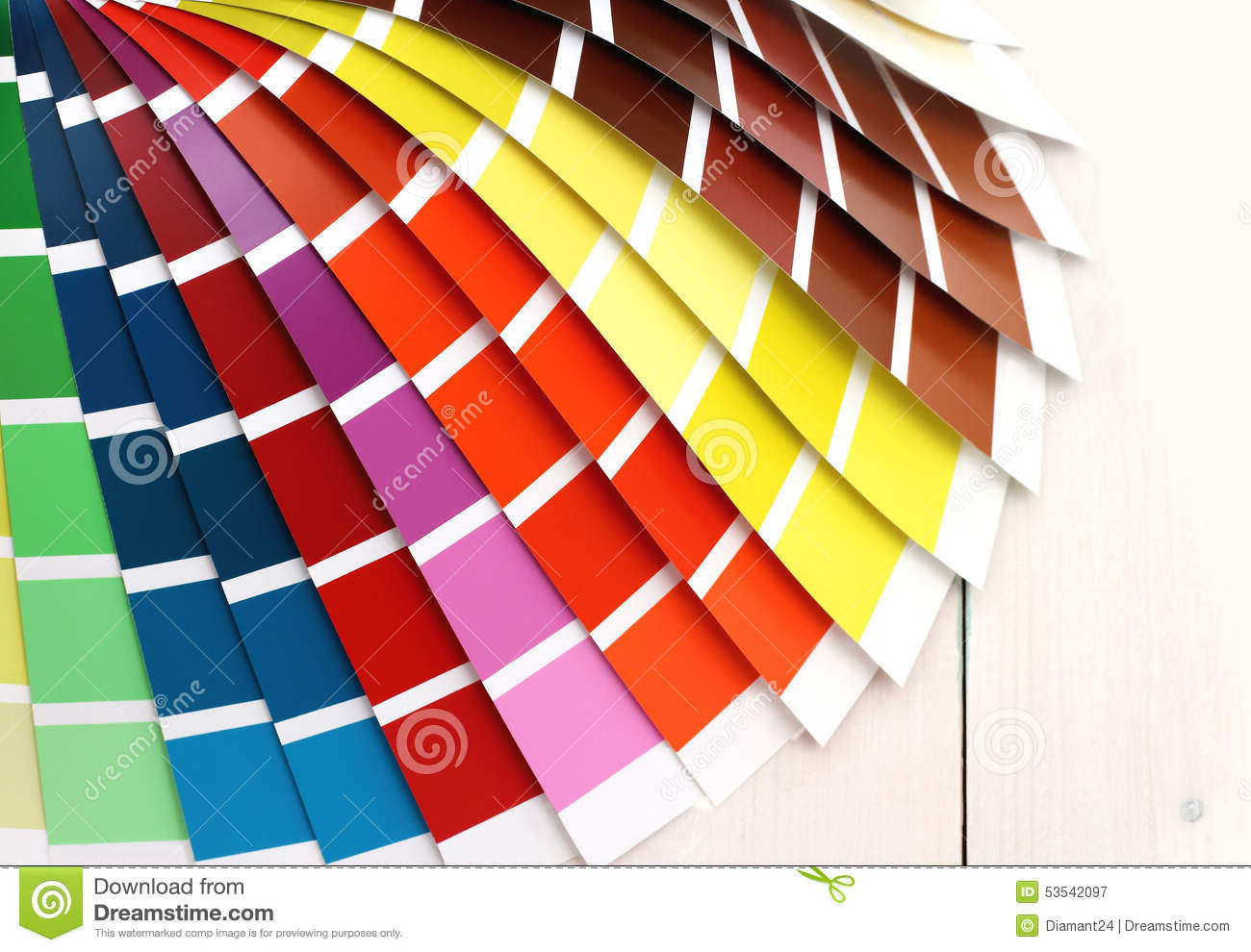 pantone color palette on white wooden background stock photo