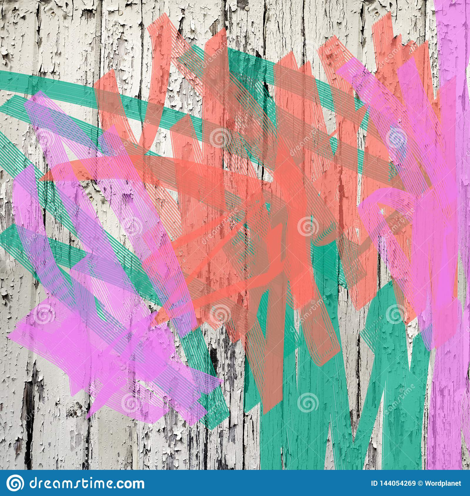 Living coral pink and green peeling paint splatter background