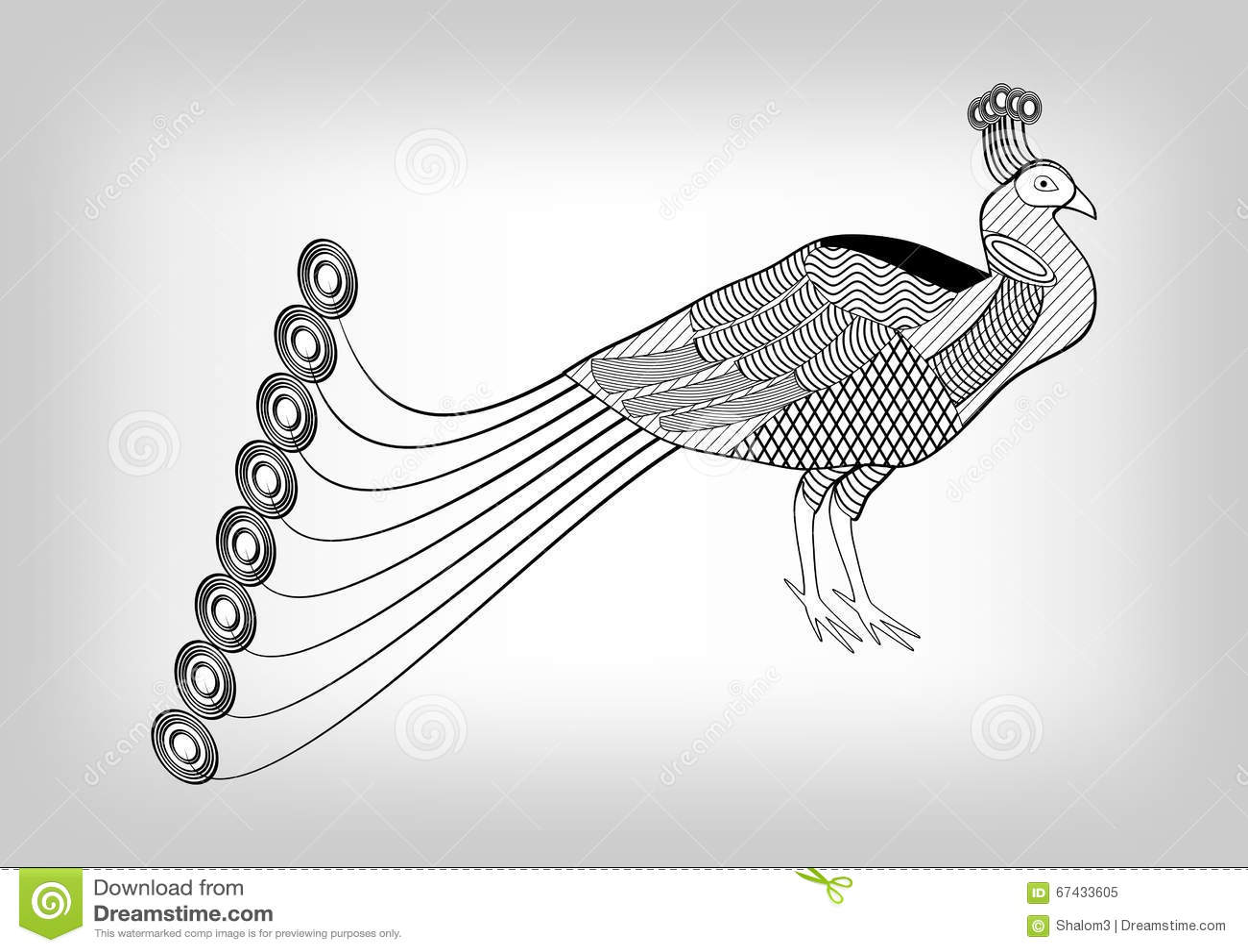Paon dessin ornemental stylis noir et blanc oiseau sur for Oiseau gris et blanc