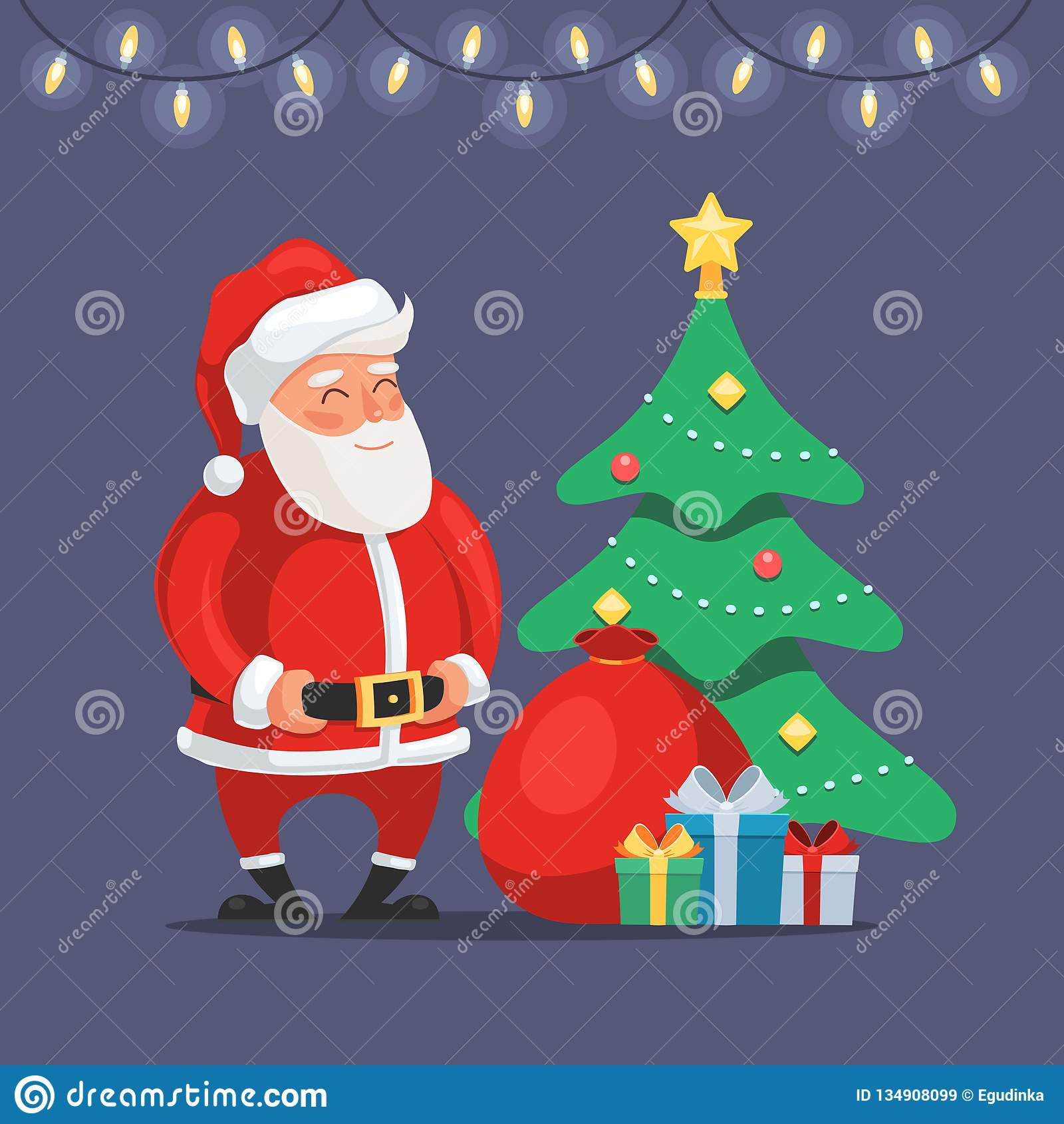 Papá Noel con el árbol de navidad