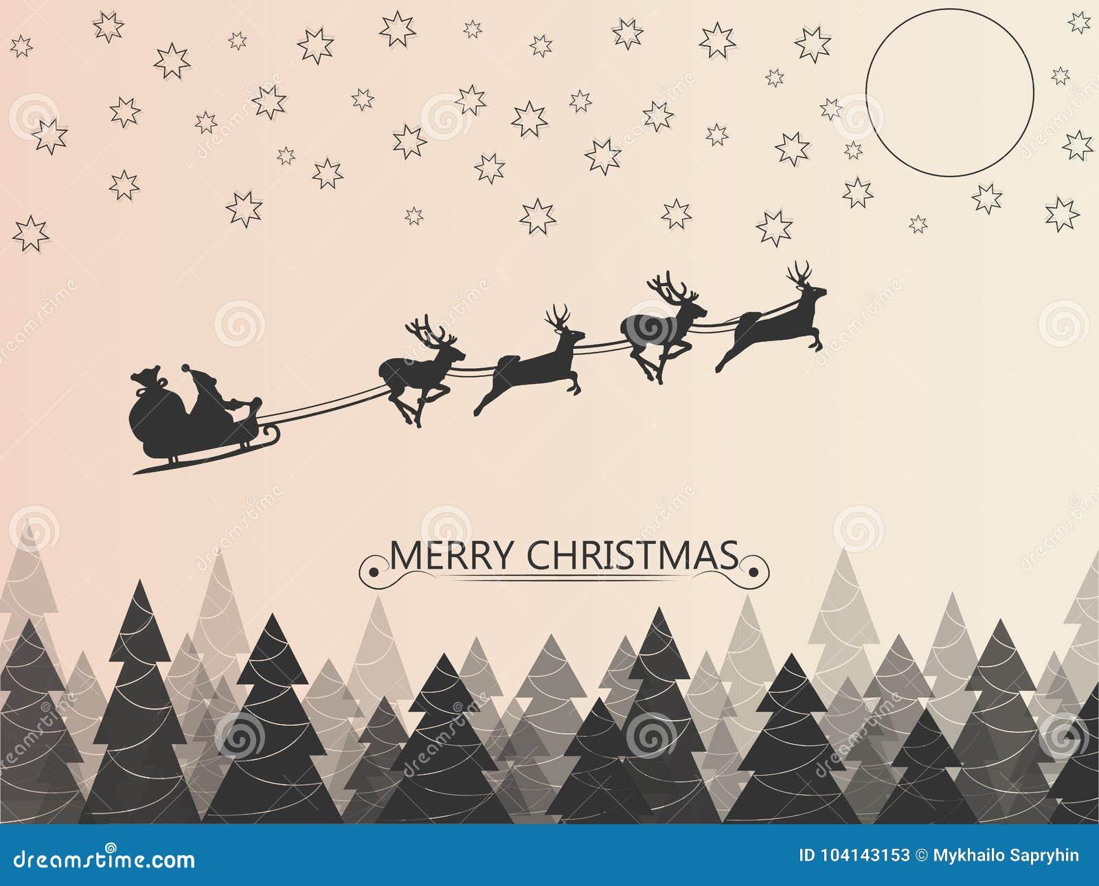 Papá Noel en el trineo de los ciervos que vuela sobre el bosque en la noche sobre las estrellas y la luna Ilustración del vector