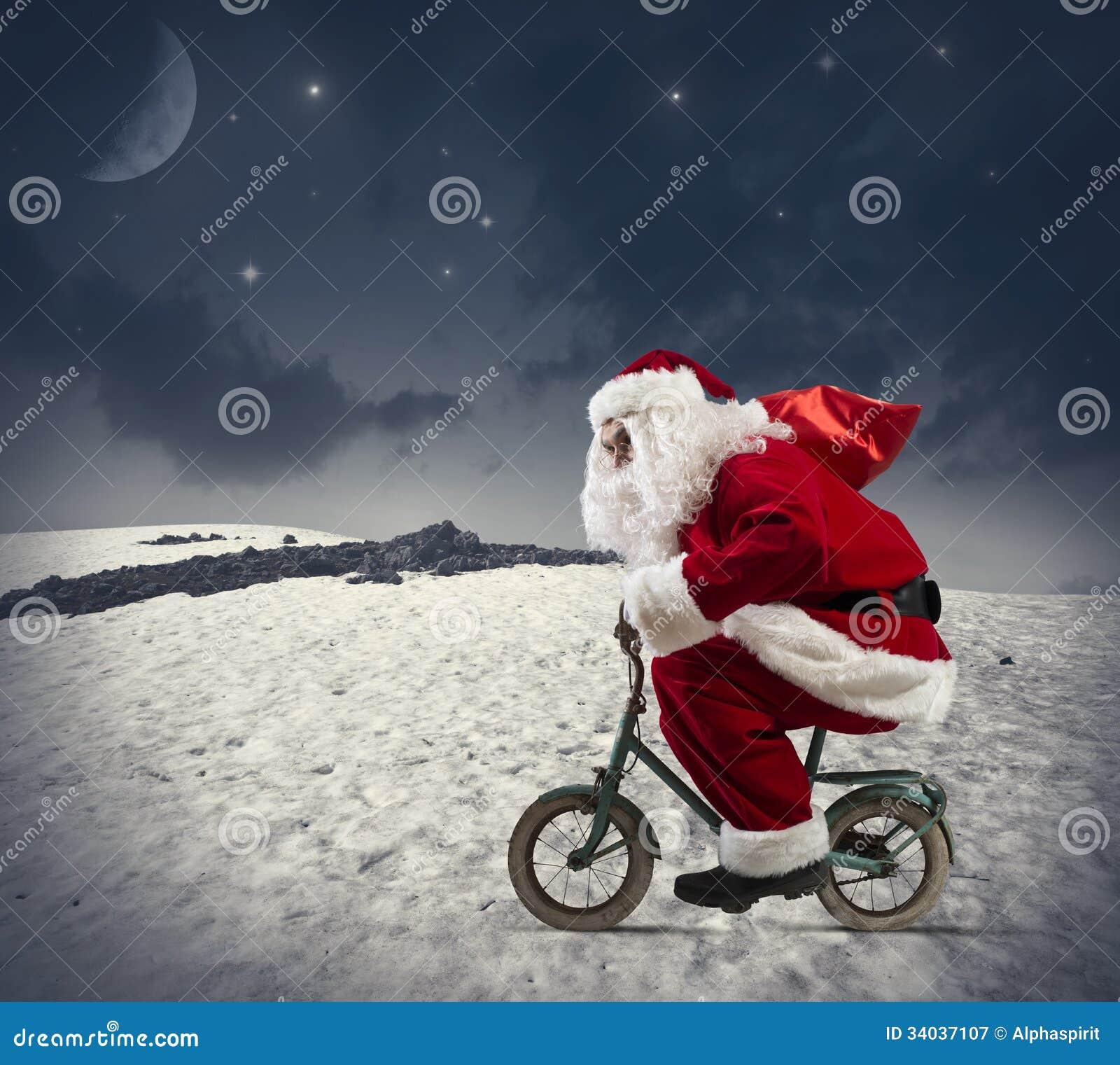 Papá Noel en la bici