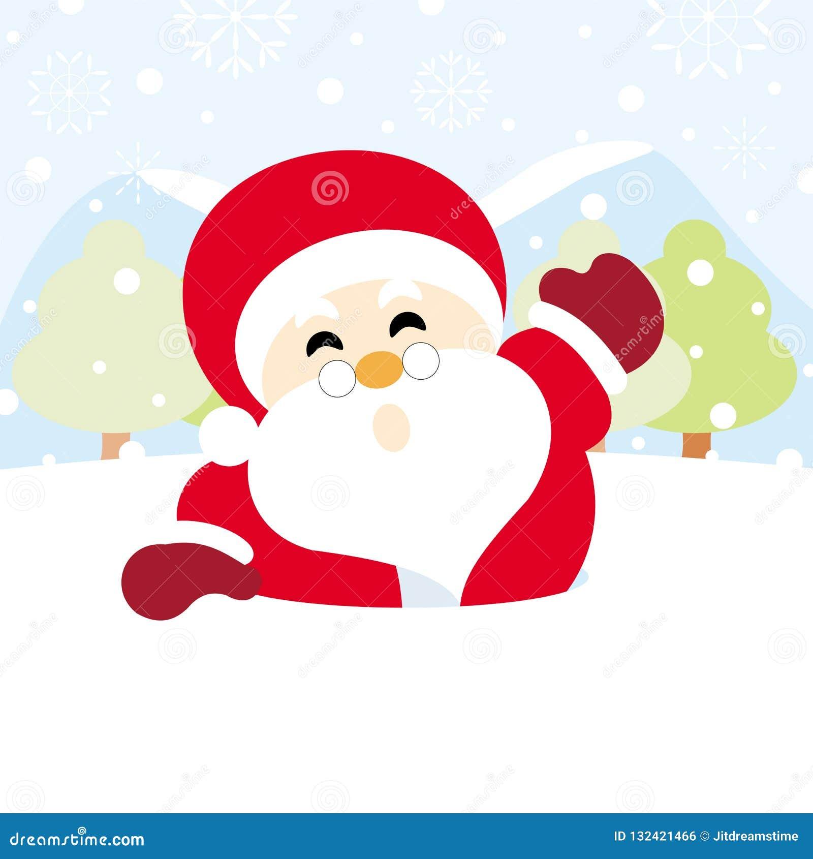 Papá Noel en nieve con la Navidad del copo de nieve