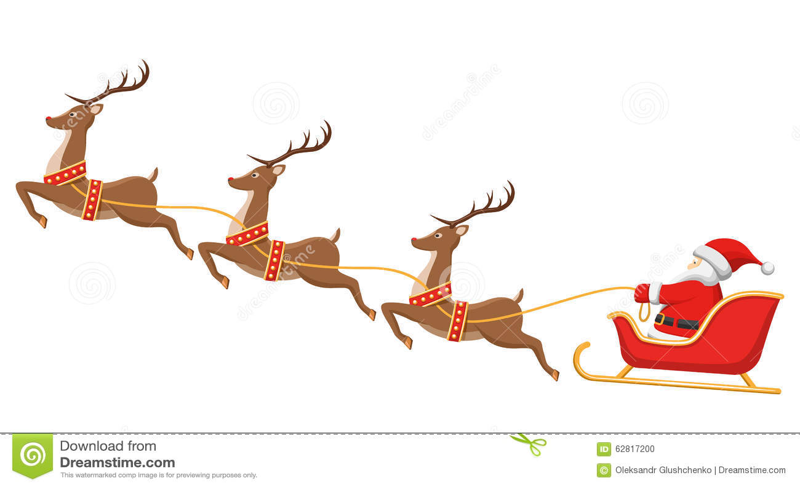 Papá Noel En Trineo Y Sus Renos En Blanco Ilustración