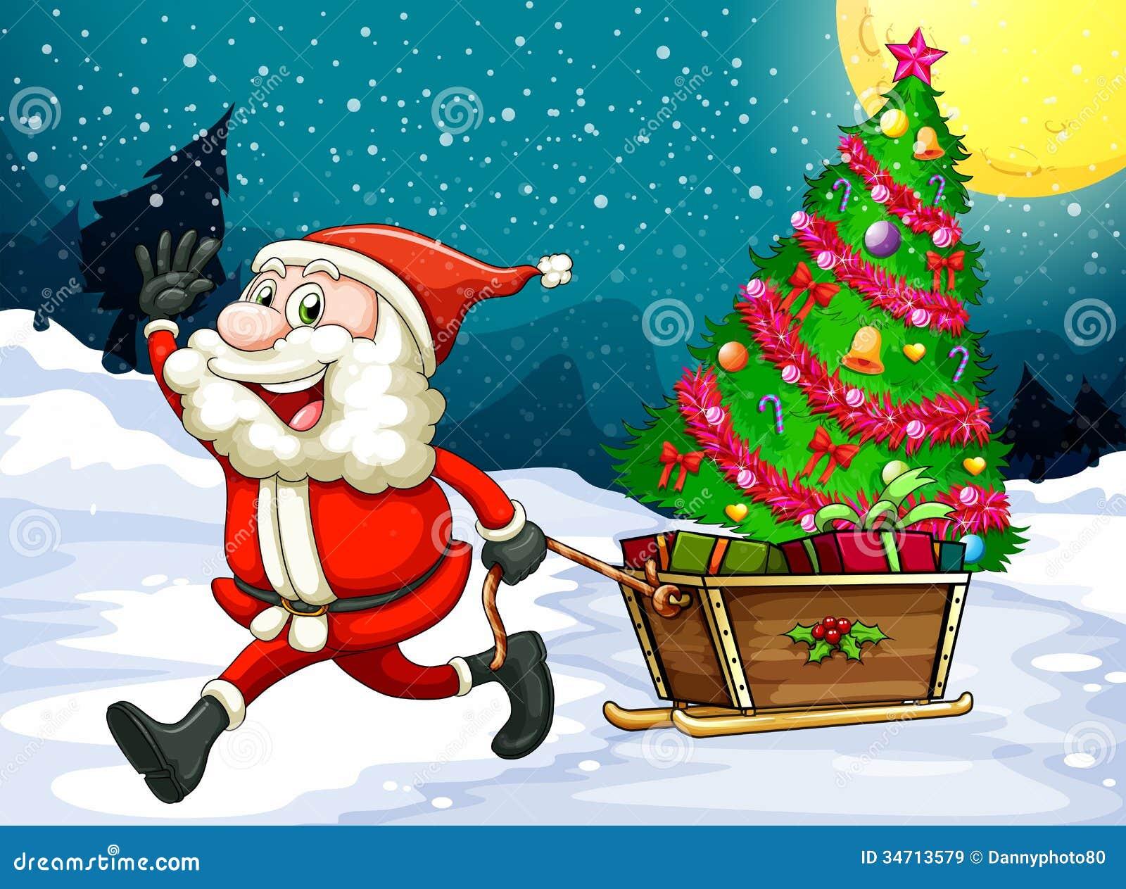Imagenes De Papa Noel De Navidad.Papa Noel Feliz Que Tira Del Trineo Con Un Arbol De Navidad