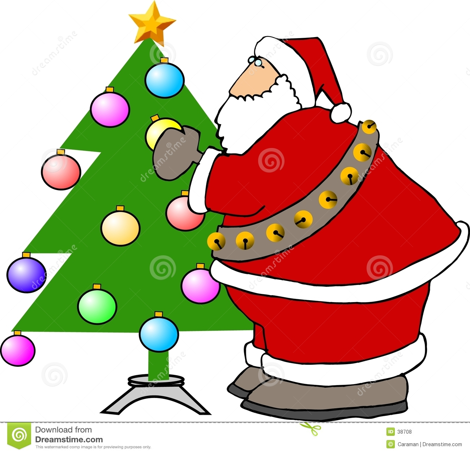 Papá Noel que adorna un árbol de navidad