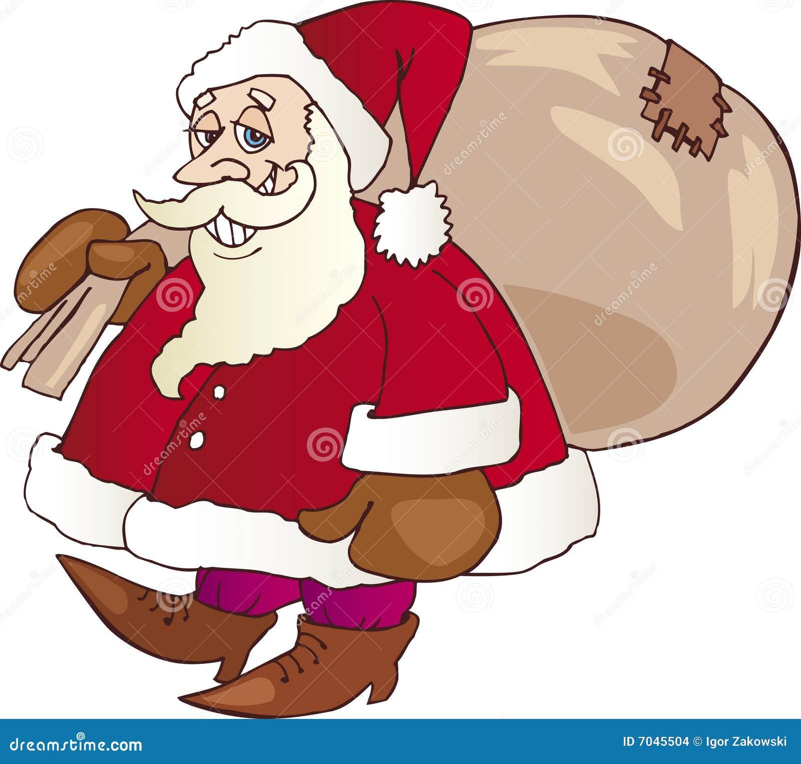 Papá Noel que recorre con el saco
