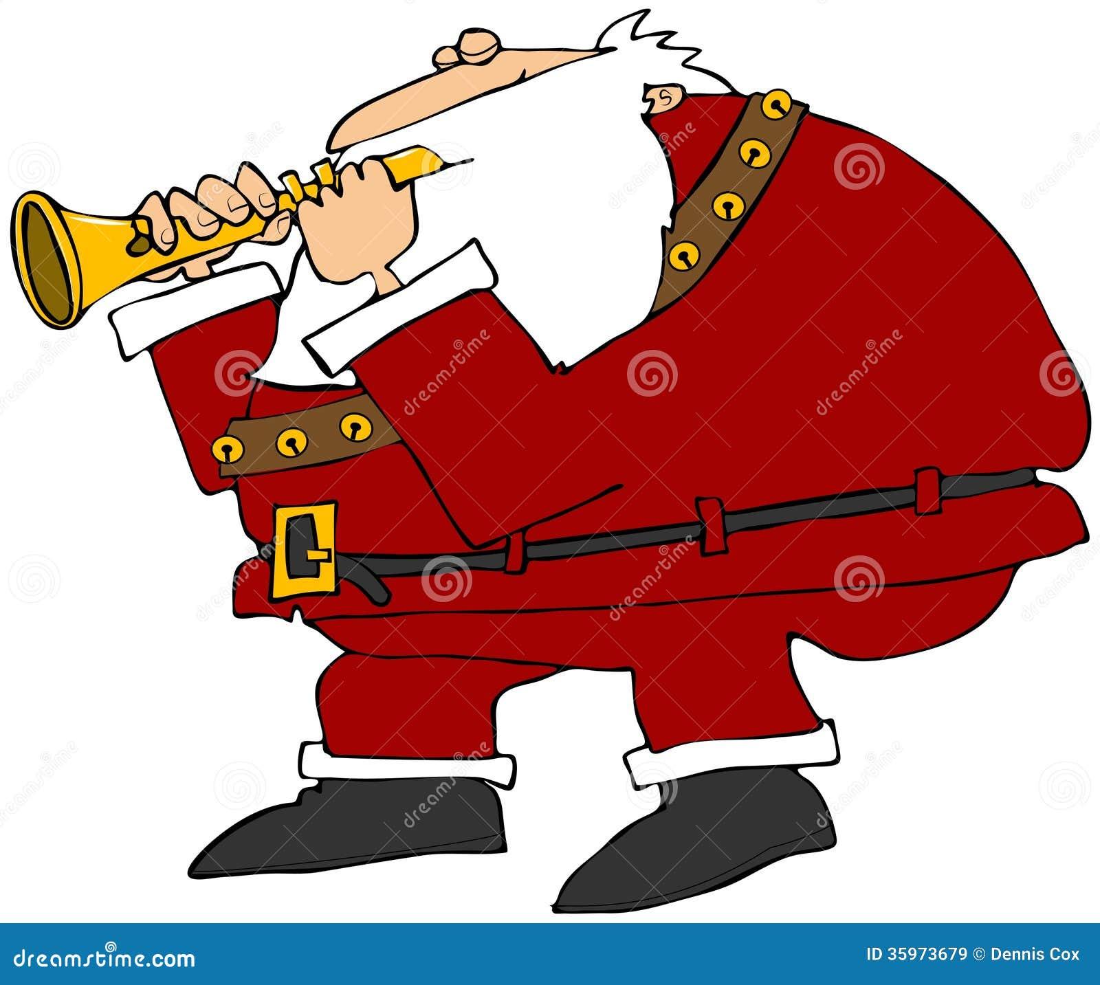Papá Noel que toca una flauta
