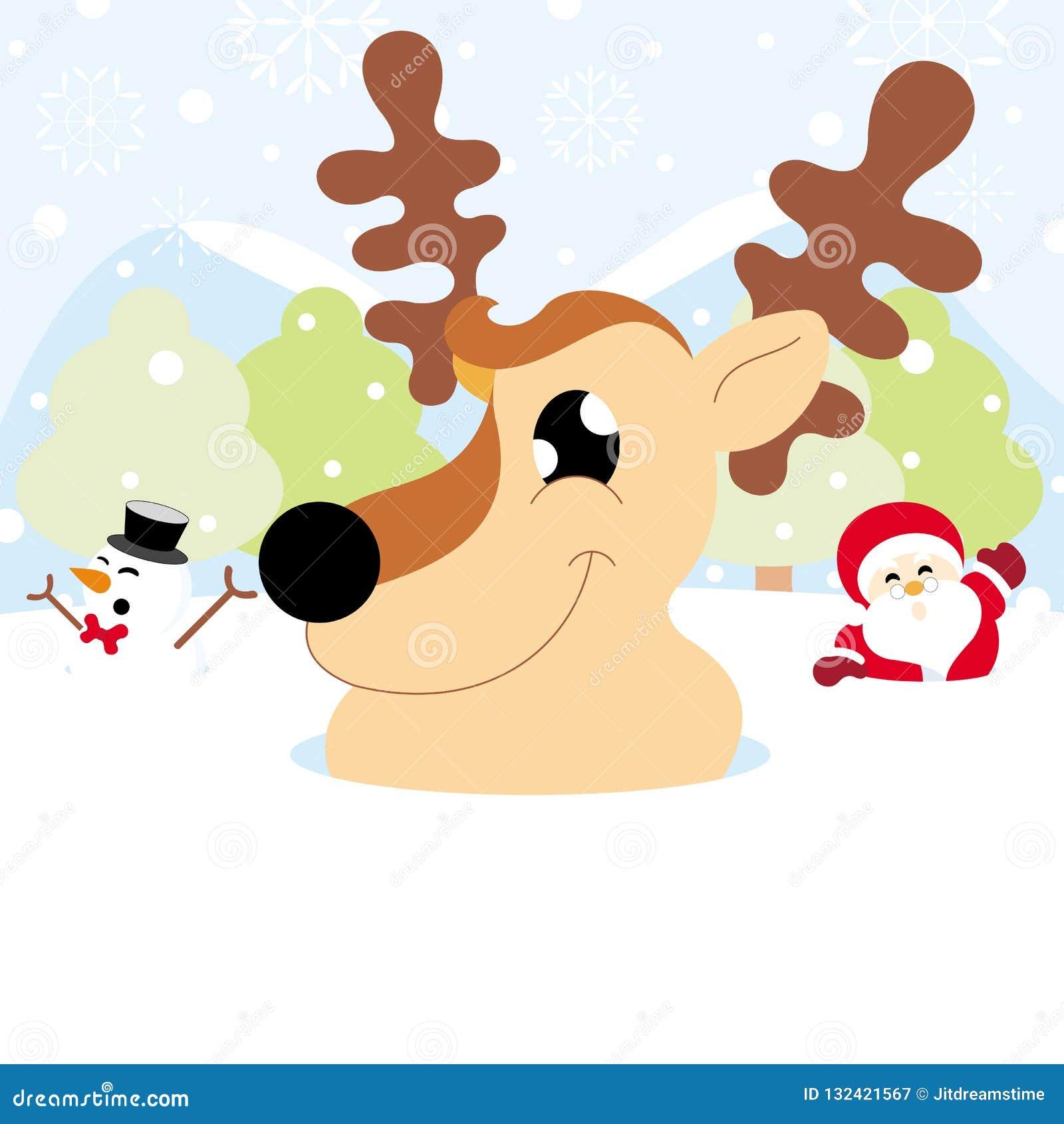 Papá Noel, reno y muñeco de nieve en nieve con la Navidad del copo de nieve