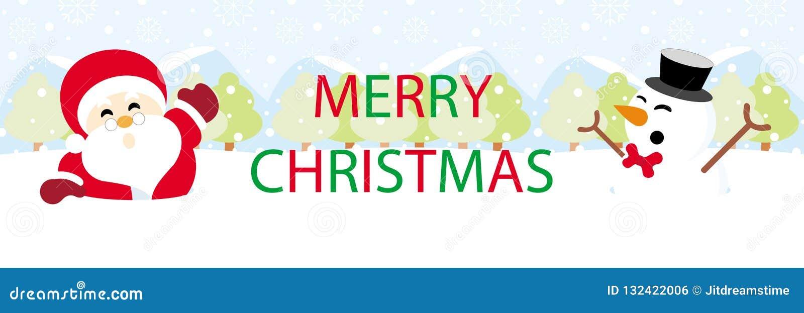 Papá Noel y muñeco de nieve en nieve con Feliz Navidad de los gráficos del texto