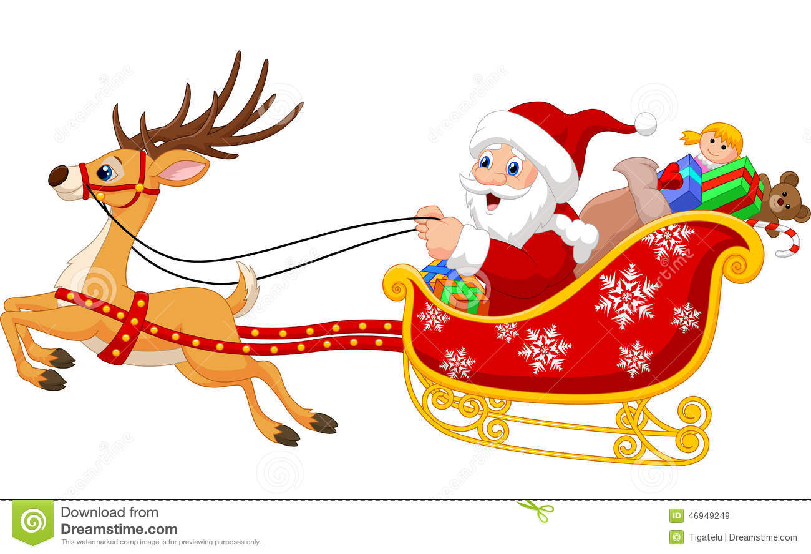 pap noel en su trineo de la navidad que es tirado por el. Black Bedroom Furniture Sets. Home Design Ideas