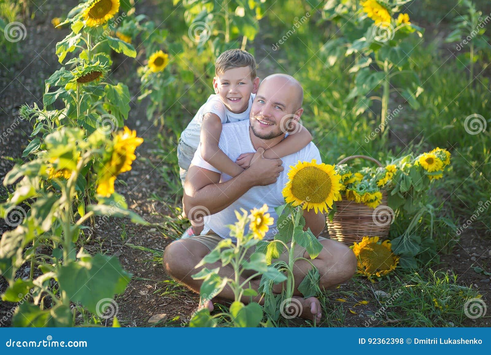 Papa avec le fils étreignant dans un domaine des tournesols Étreinte de fils son père dans un domaine des tournesols