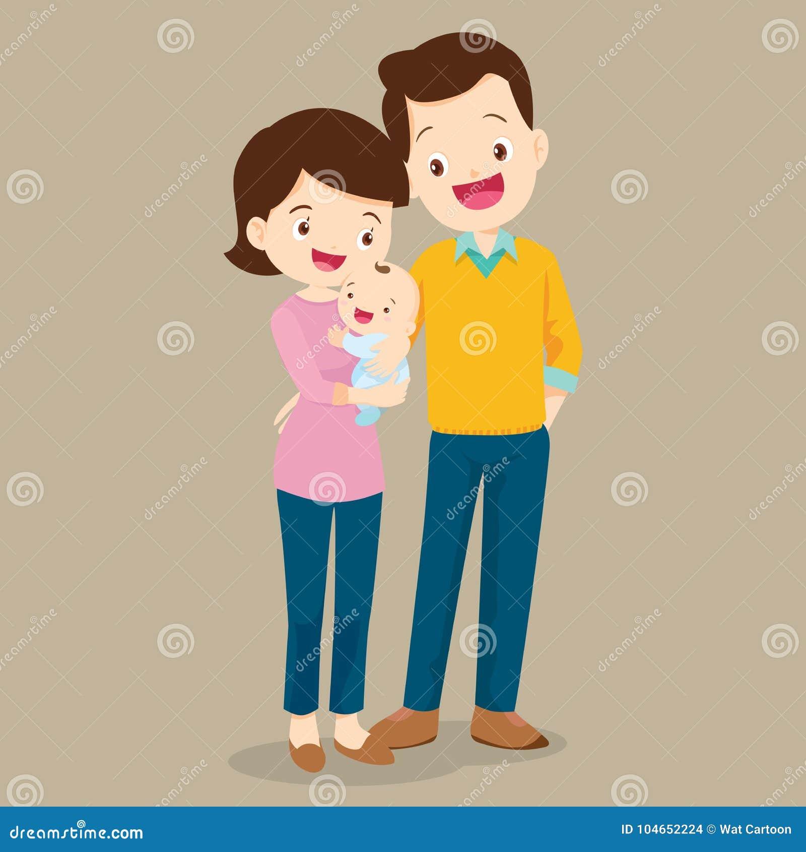 Papa et maman avec le bébé mignon