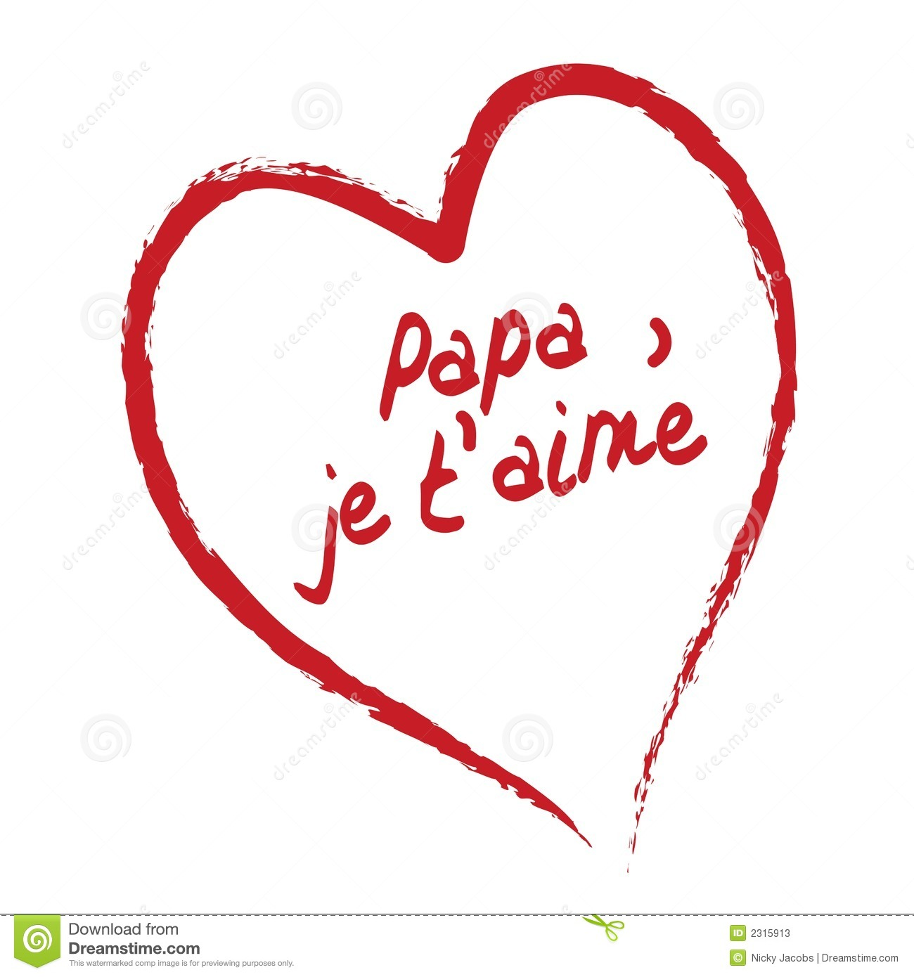 Papa Je T'aime Card Stock Vector. Illustration Of France