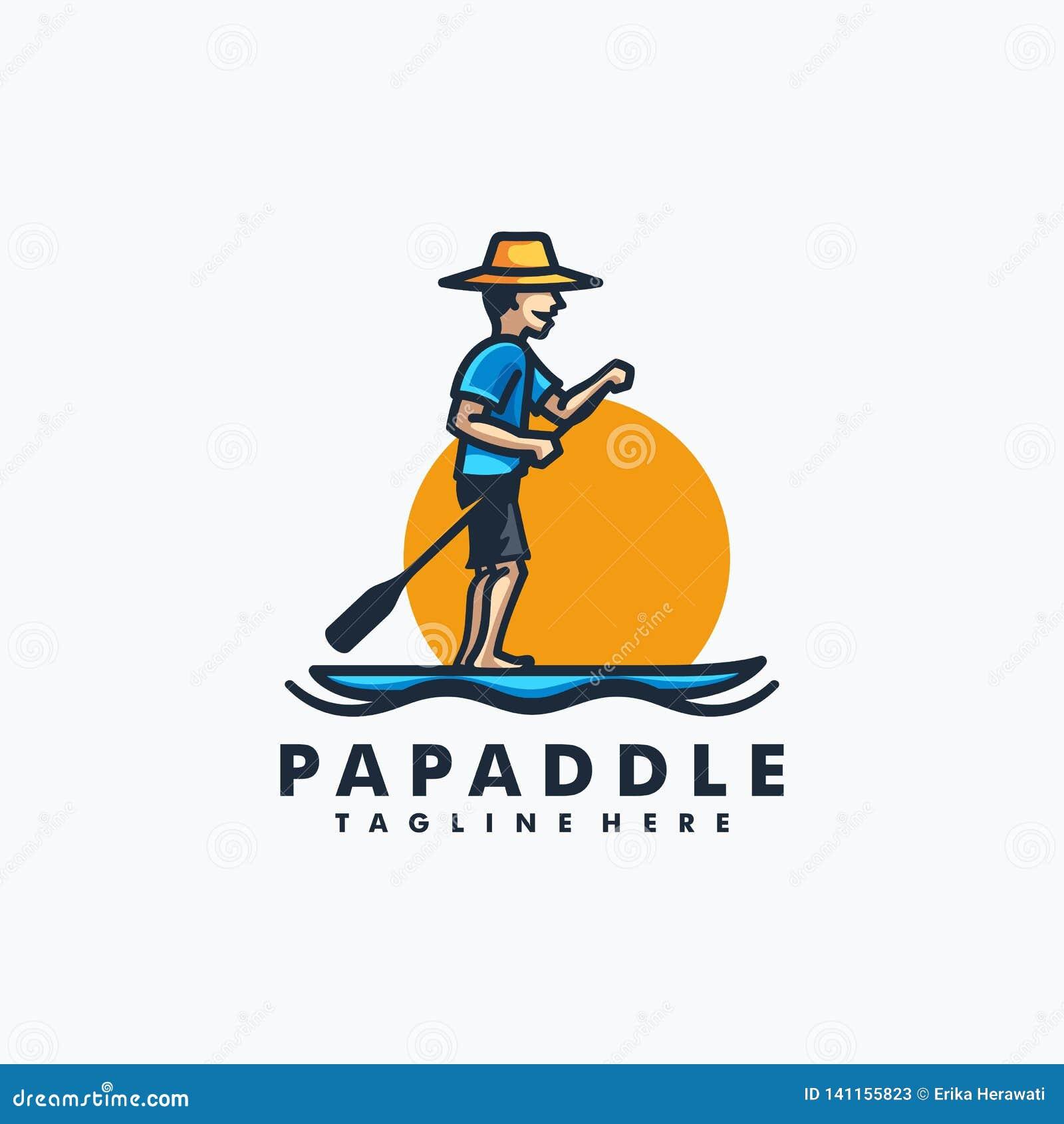 Papa Paddle Design-het Vectormalplaatje van de conceptenillustratie
