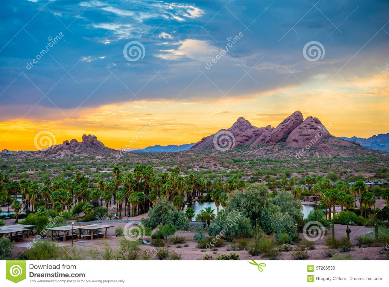 Papago Park at Sunset stock image. Image of against, butte - 97206539