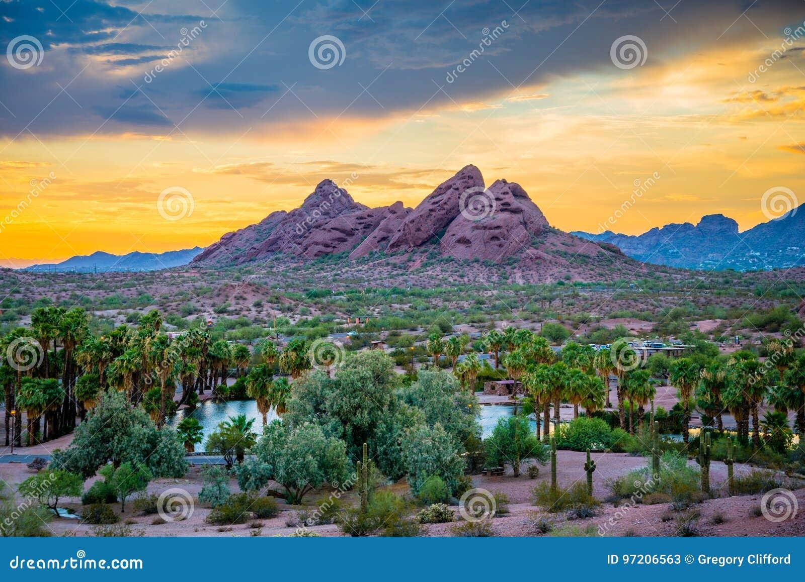 Papago Park at Sunset stock image. Image of background - 97206563