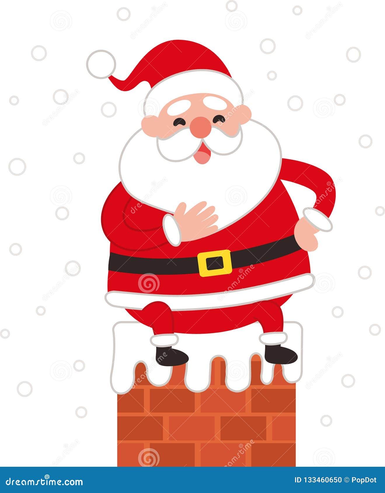 Papai Noel bonito que senta-se em uma chaminé