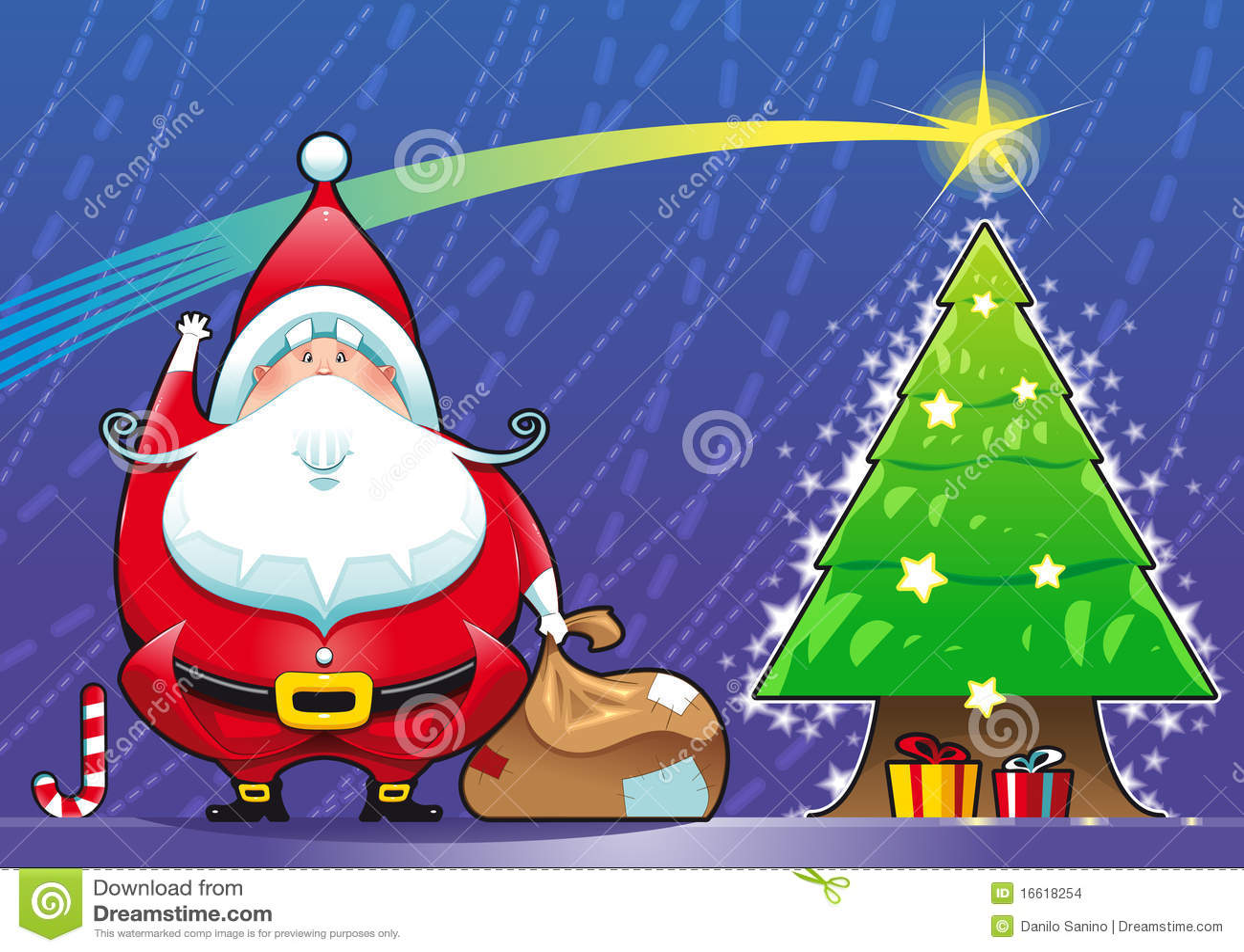 Papai Noel com árvore de Natal.