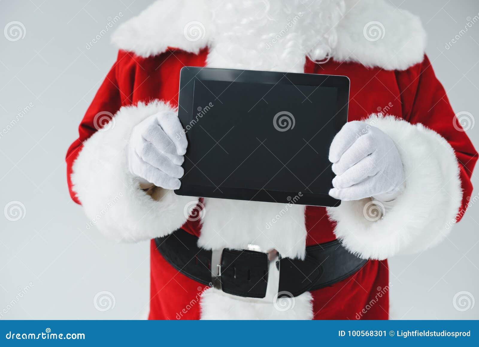 Papai Noel com tabuleta digital