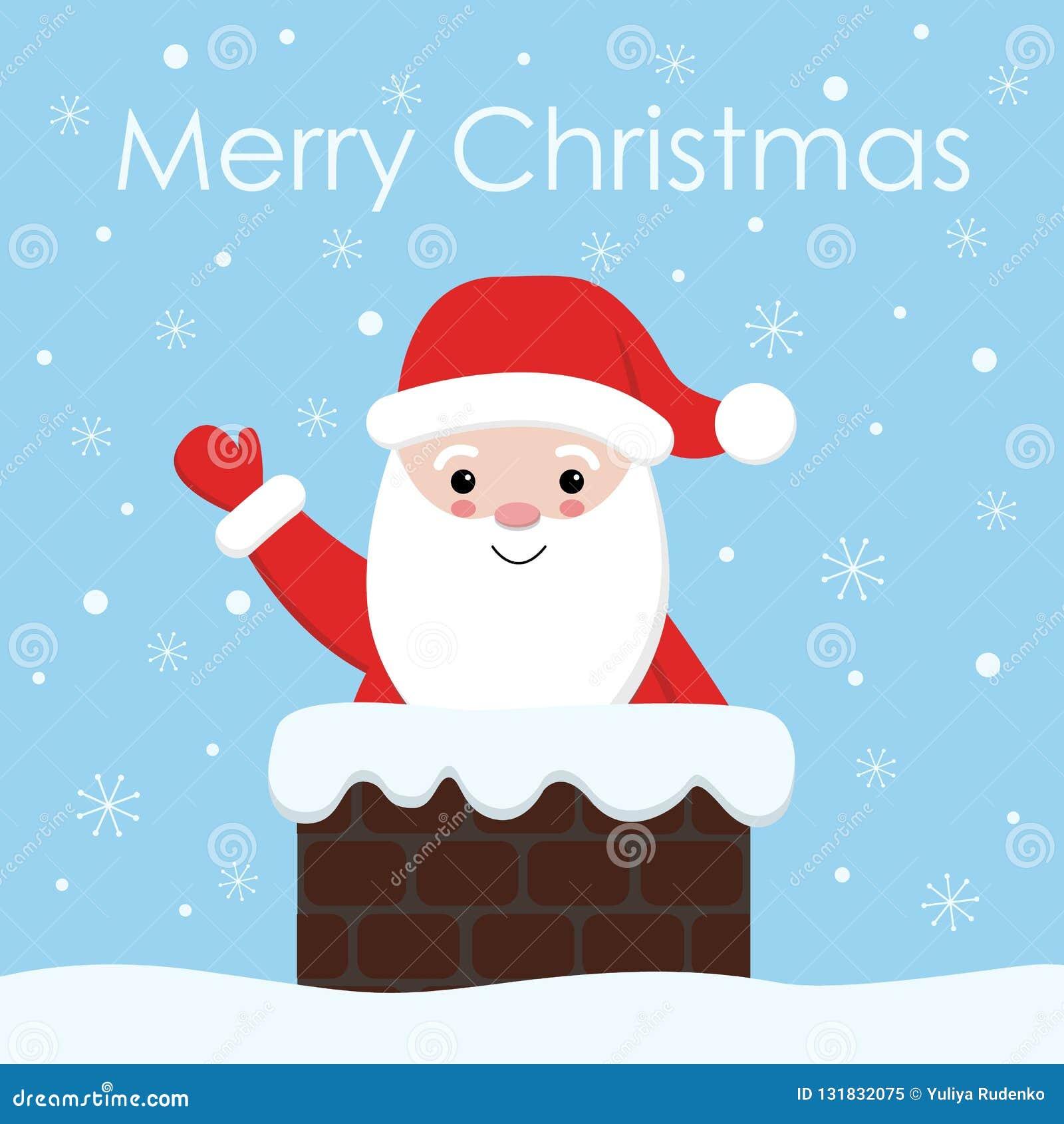 Papai Noel com um sino na chaminé Ilustração de Santa do Natal e do ano novo