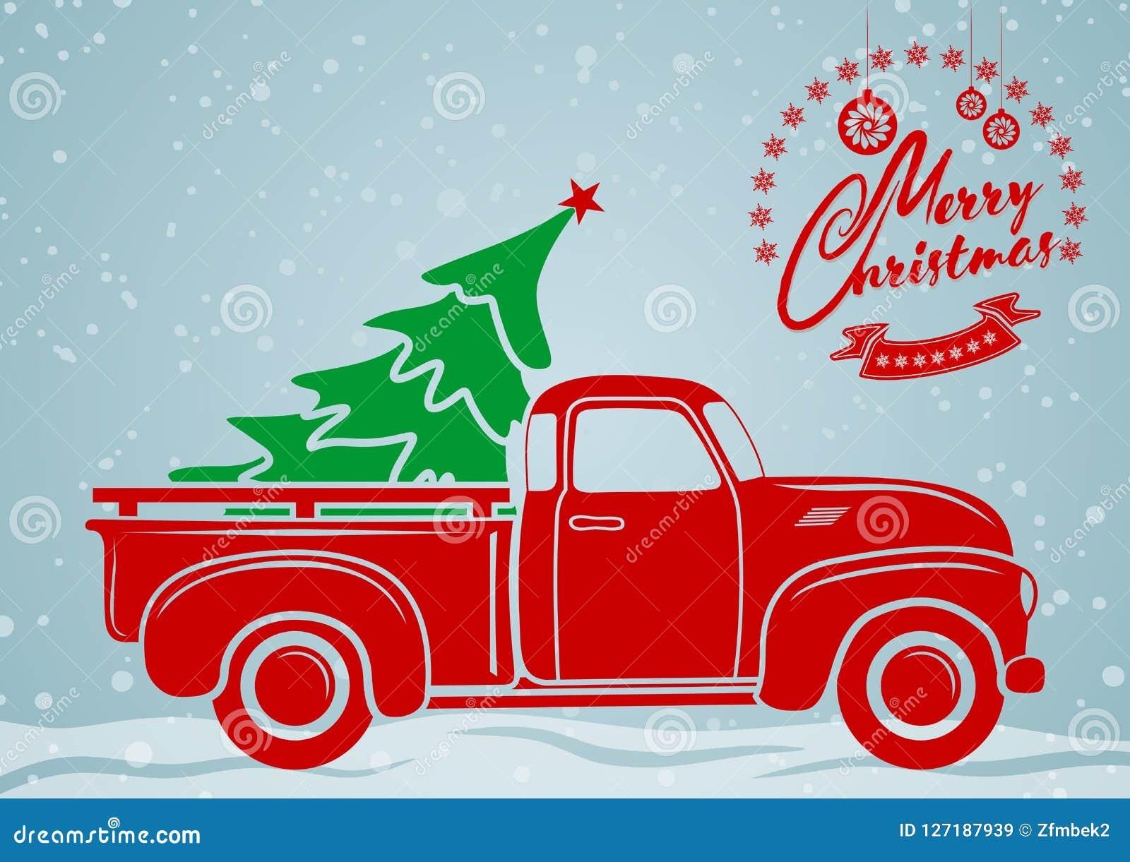 Papai Noel em um sledge Recolhimento do vintage, caminhão com árvore de Natal
