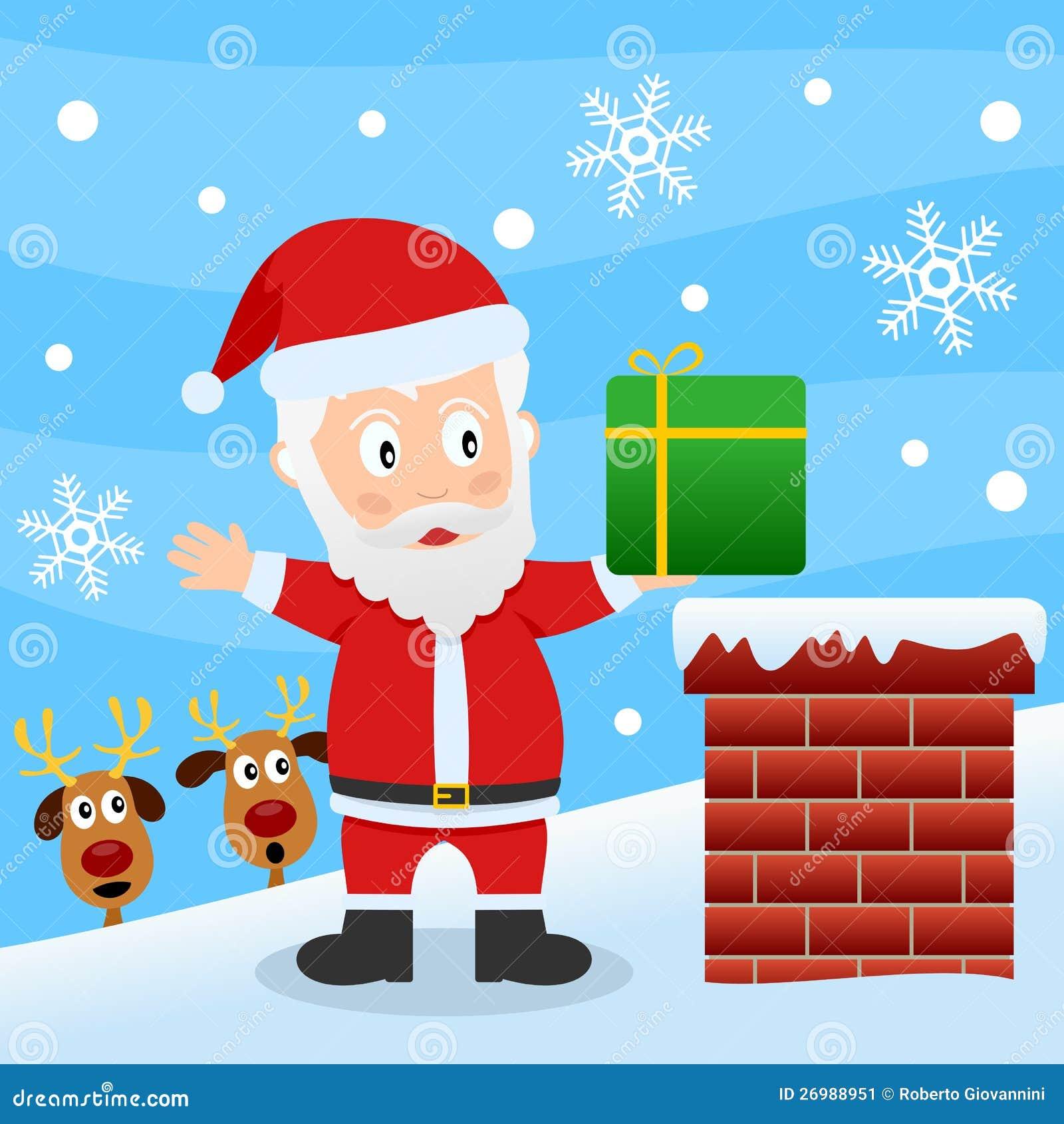 Papai Noel em um telhado