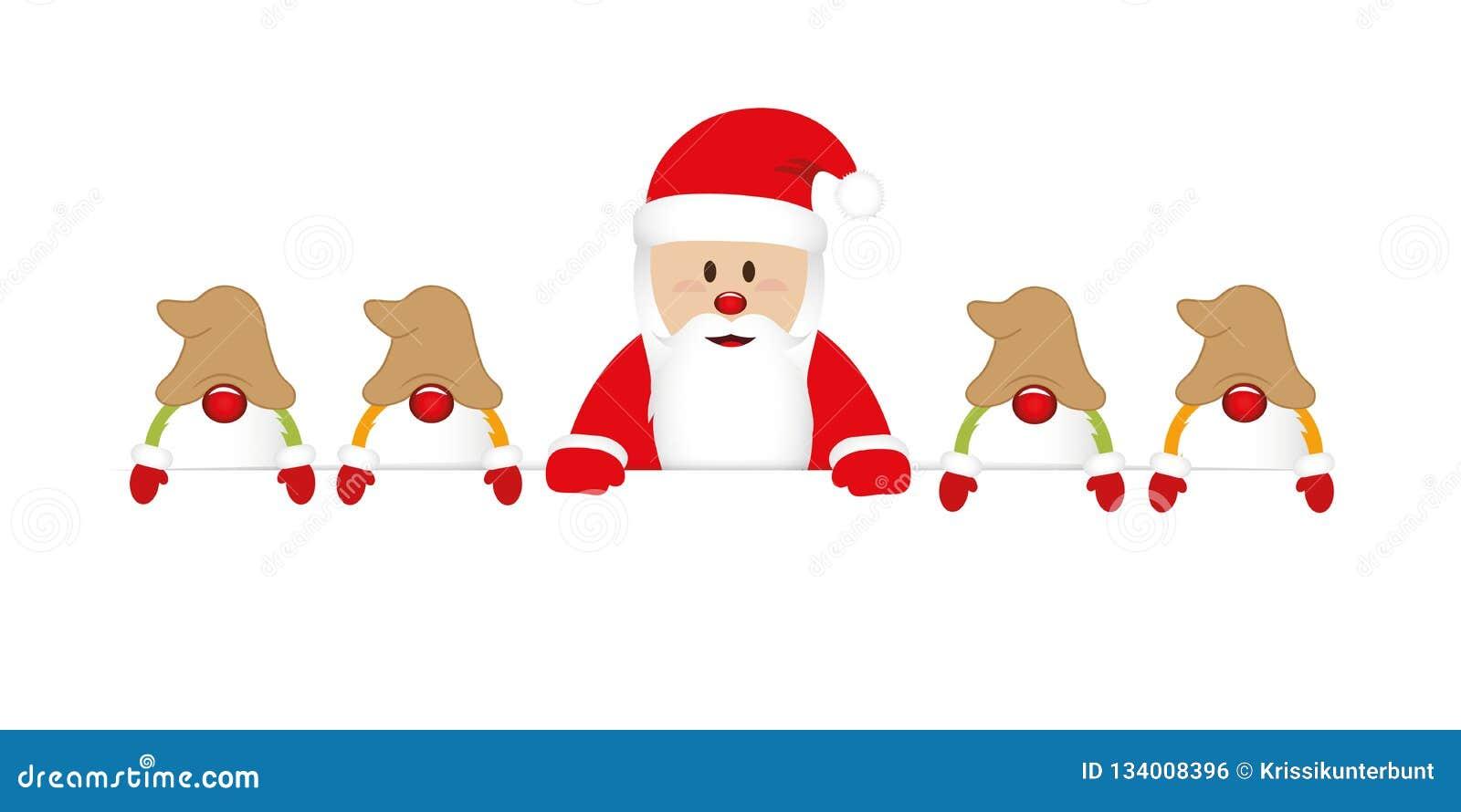 Papai Noel feliz bonito com sua bandeira branca dos gnomos