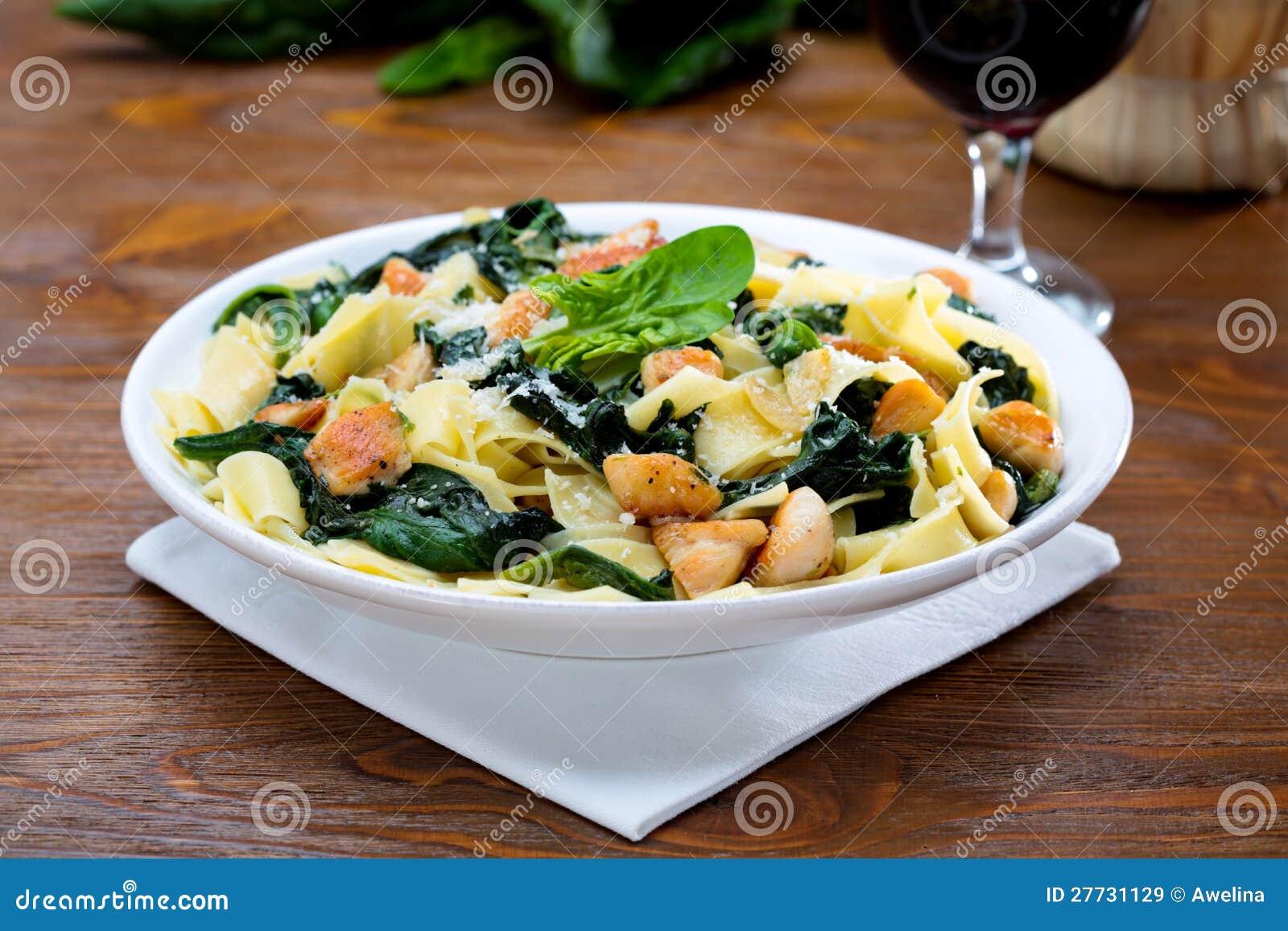 Papardelle mit dem Huhn und mit dem Spinat