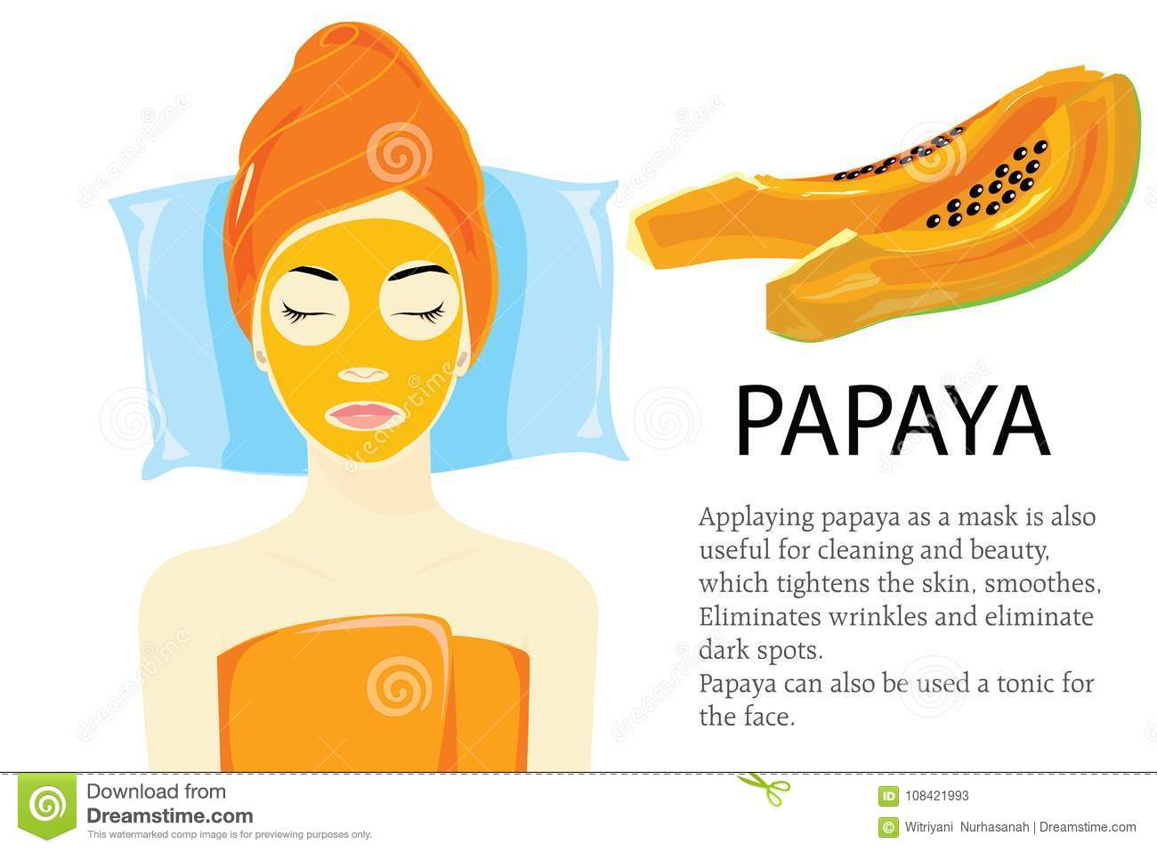 Download Papaya mask spa salon stock vector. Illustration of cartoon - 108421993