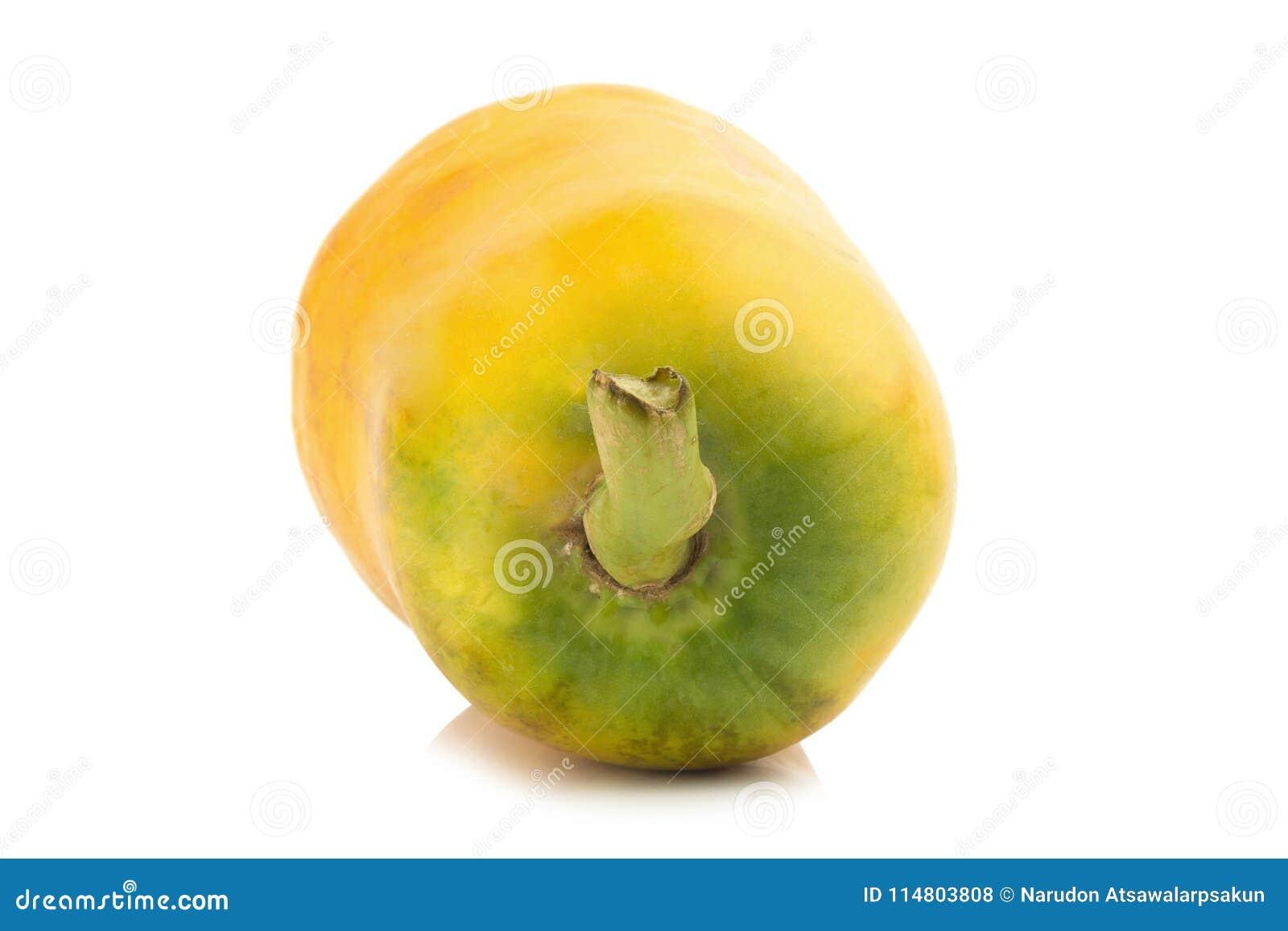 papaya fruit. closeup rear part. color orange. asian. isolated