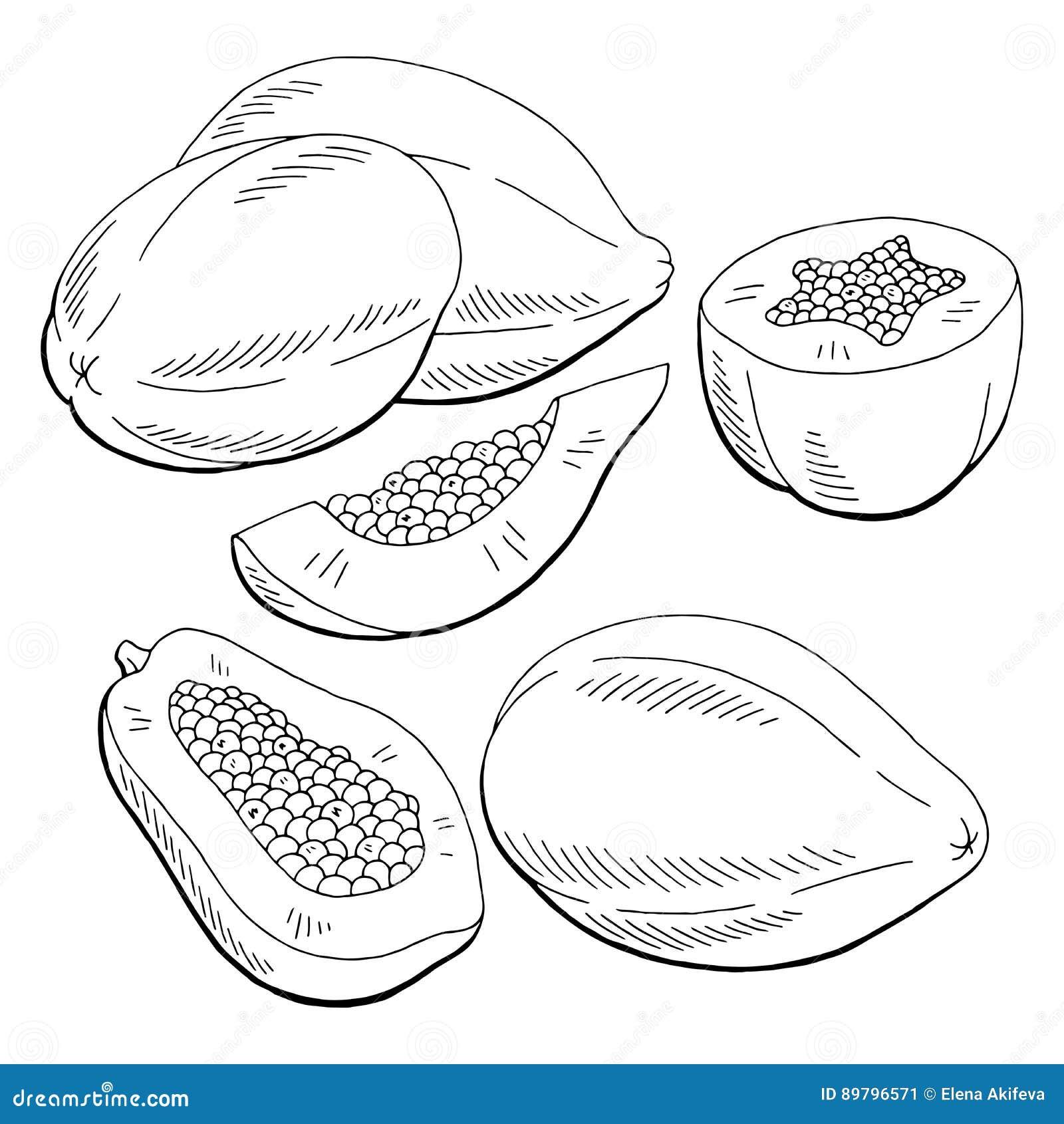 papaya fruit clipart black and white - photo #36