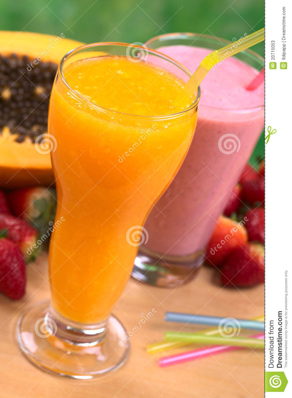Papaya Juice And Strawberry Milkshake Stock Image Image