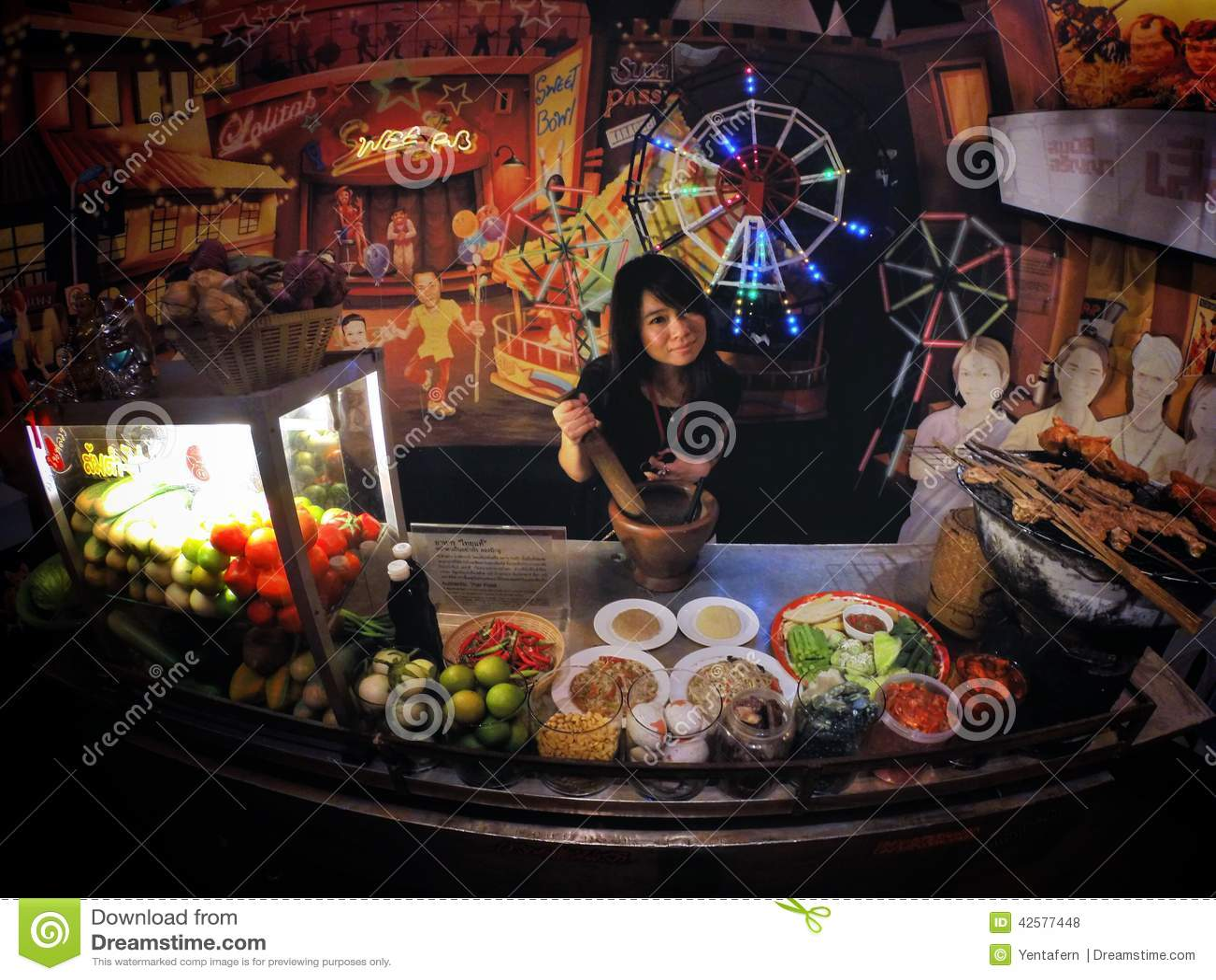 Papaya-Salat-Marktfrau