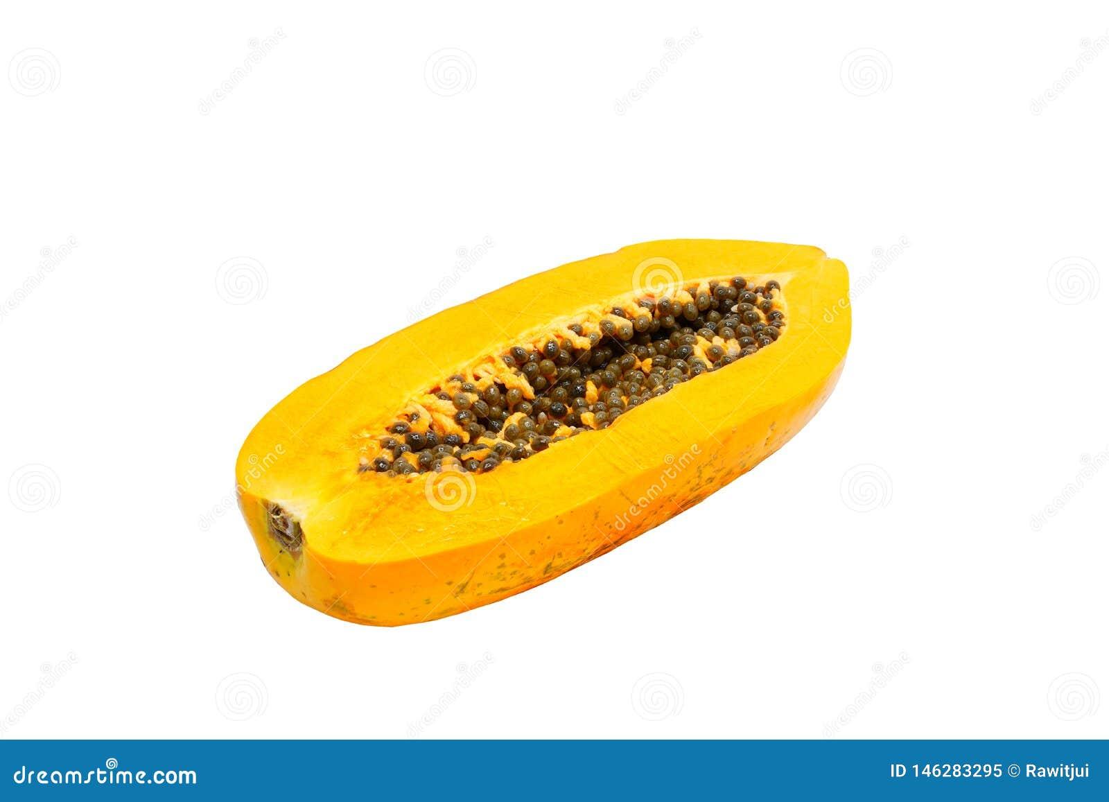 Papaya som isoleras p? vit bakgrund