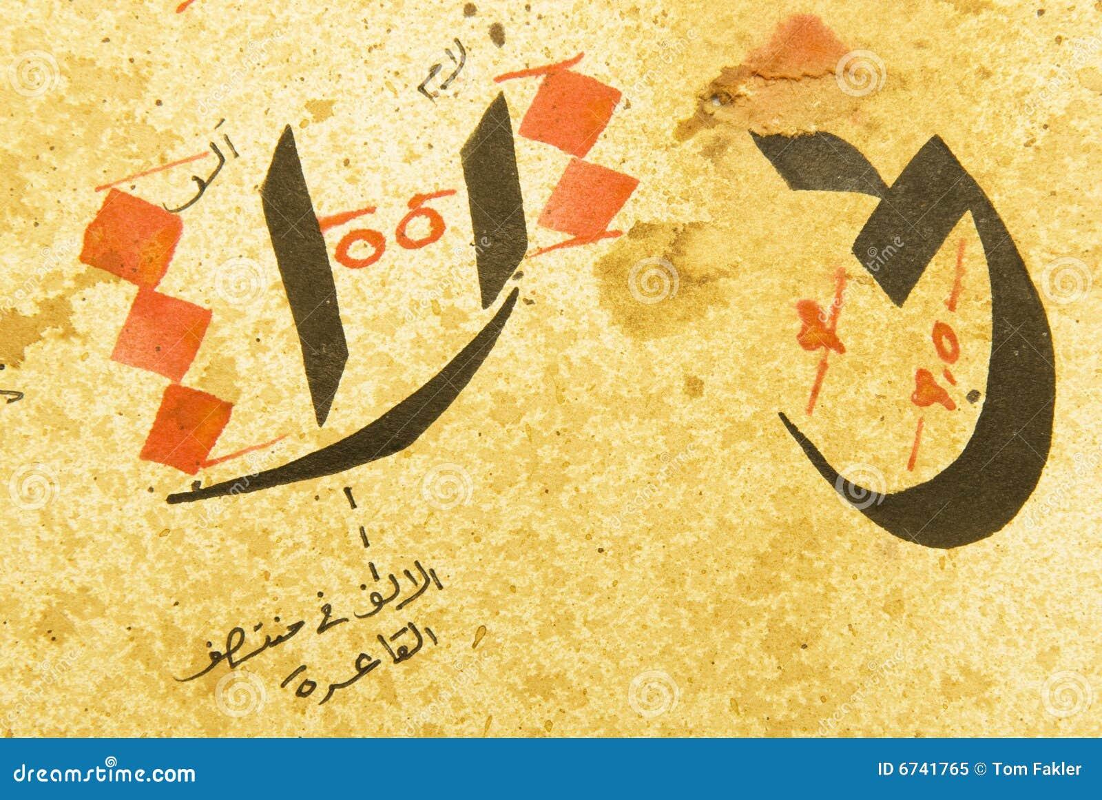 Papel árabe De Los Caracteres De La Caligrafía Imagen de archivo ...