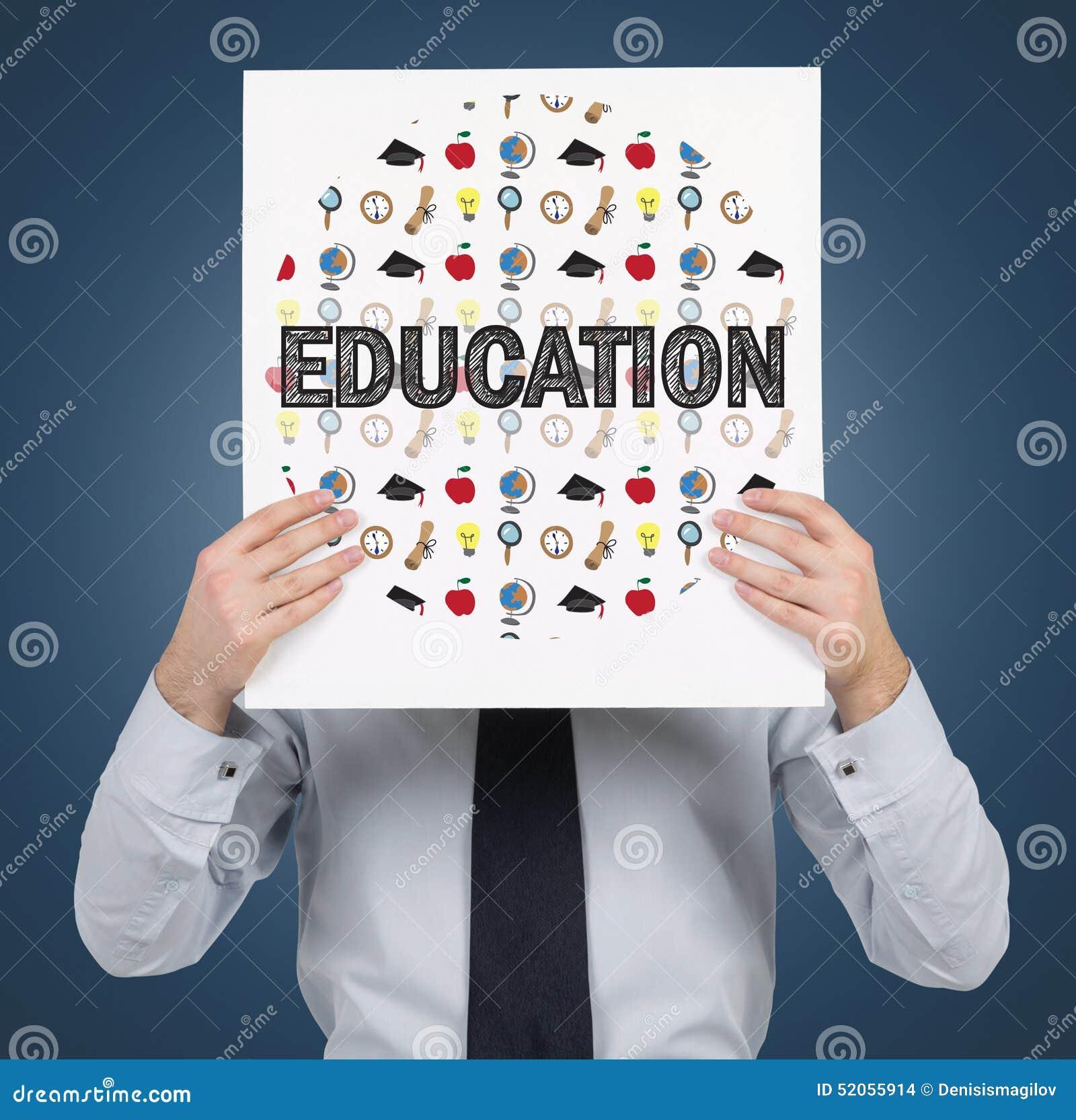Papel com ícones da educação