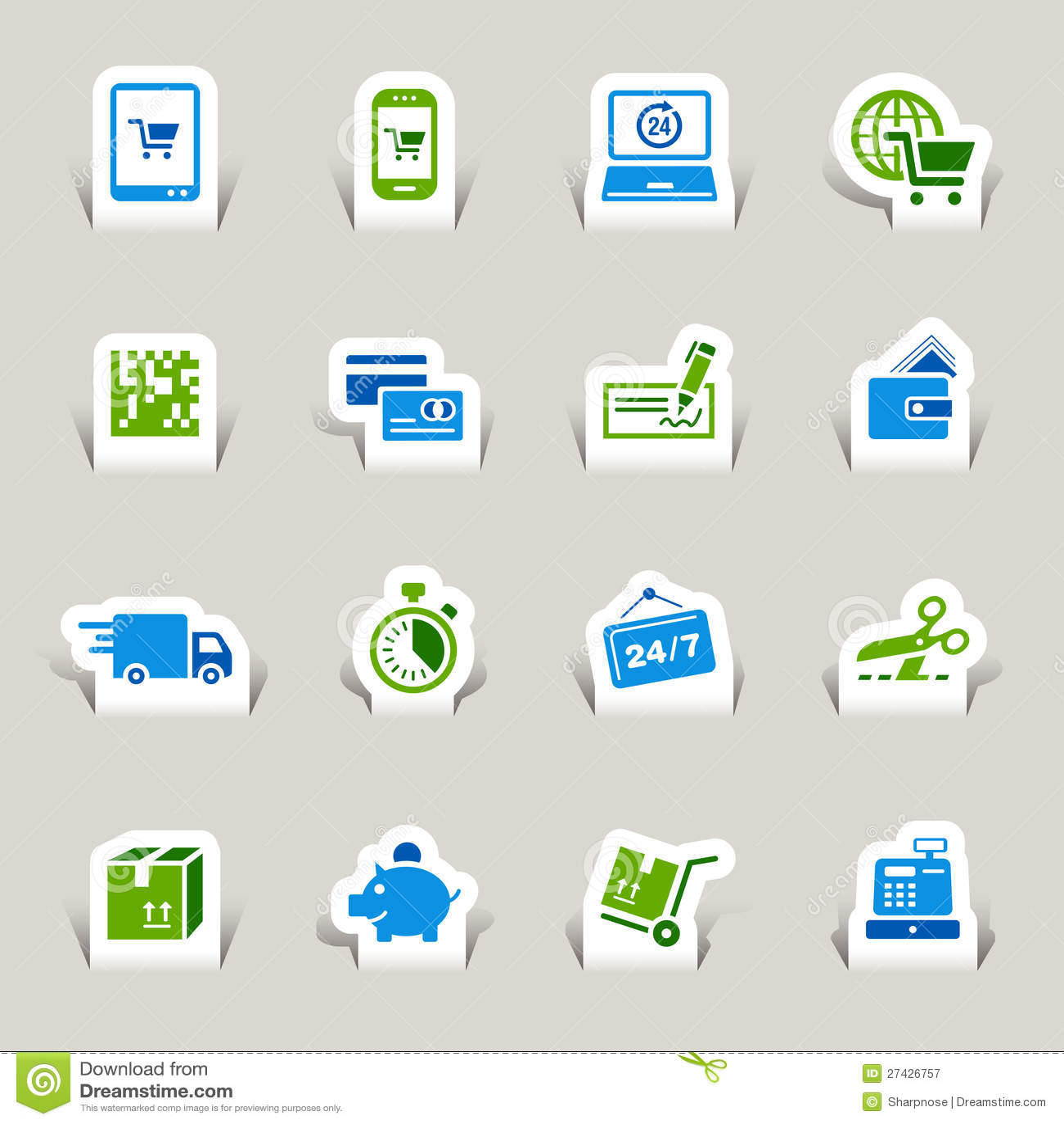 Papel cortado - iconos de las compras