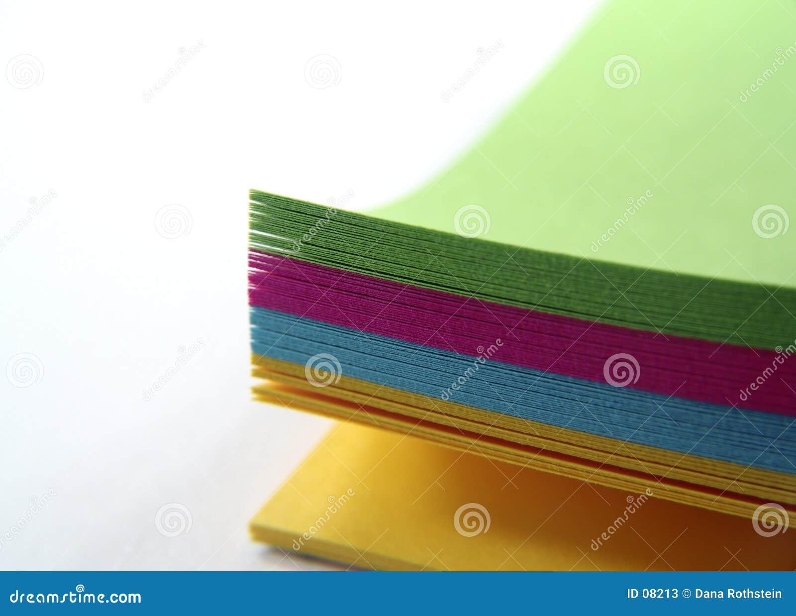 Papel de nota colorido
