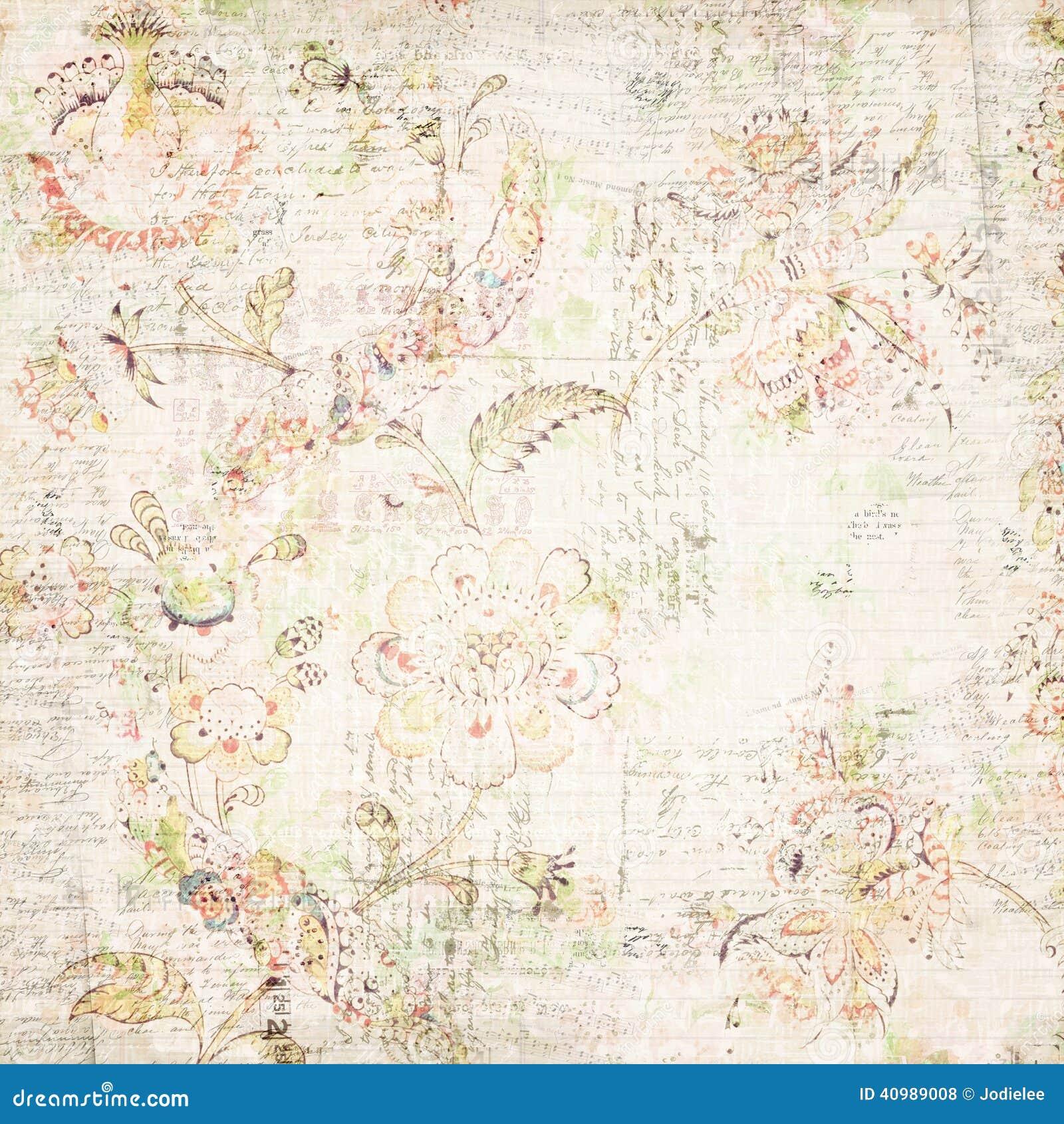 Papel de parede antigo afligido floral e do texto foto de - Papel pared vintage ...