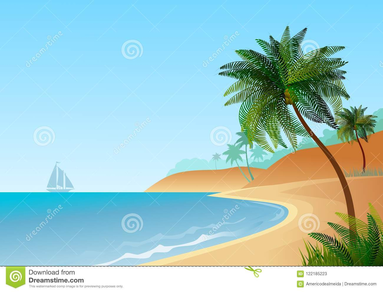 Papel De Parede Com Paisagem Maritima Com Praia E Palmeiras