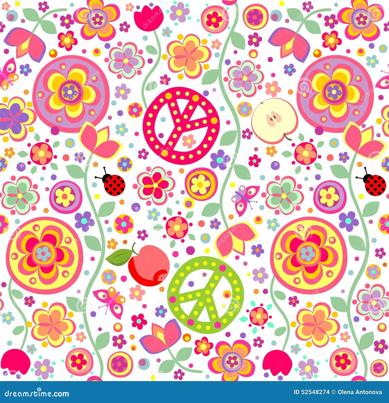 Papel De Parede Criançola Da Hippie Ilustração do Vetor  Imagem 52548274