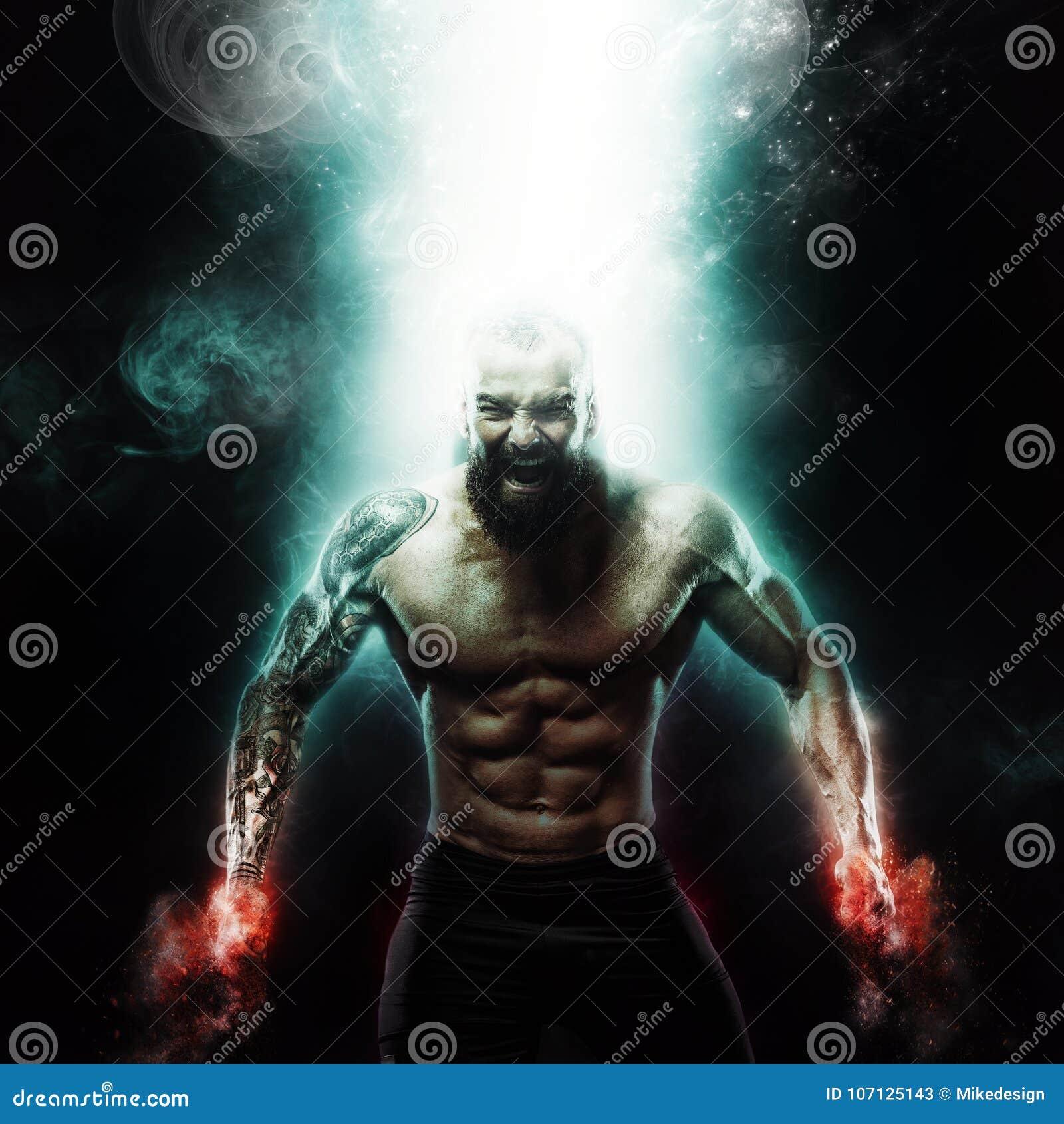 Papel de parede do esporte e da motivação no fundo escuro Halterofilista atlético do indivíduo do poder Fogo e energia