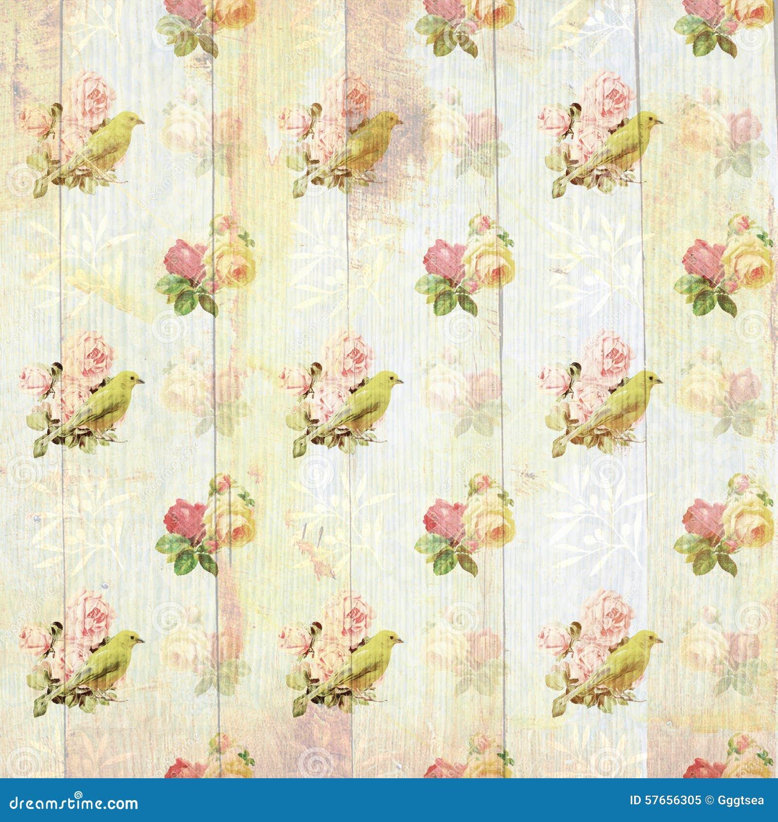 Papel de parede floral gasto do vintage