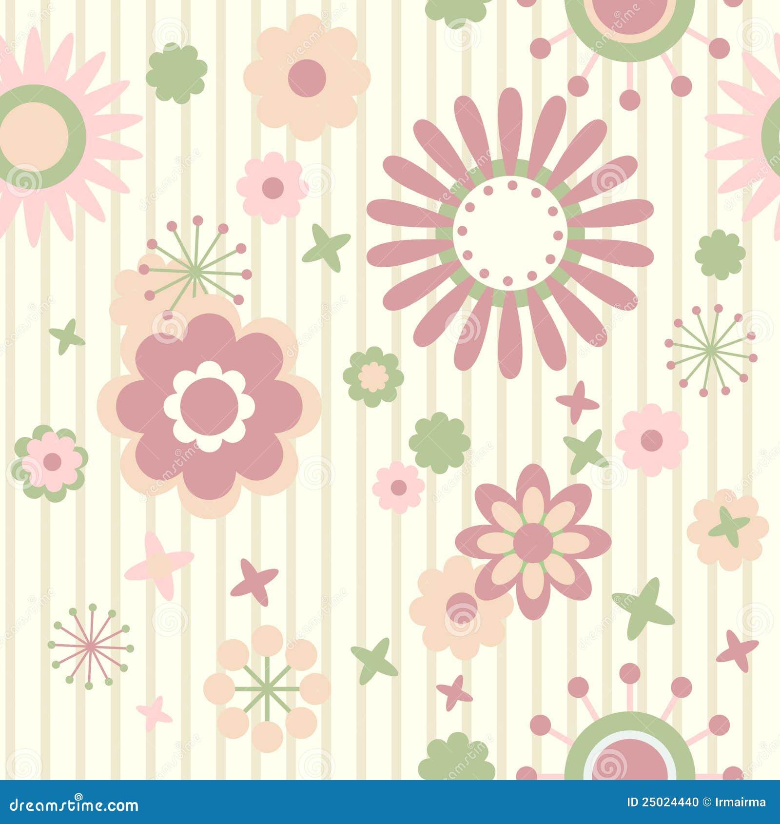 Papel de parede floral, flores coloridas decoradas em fundo listrado.