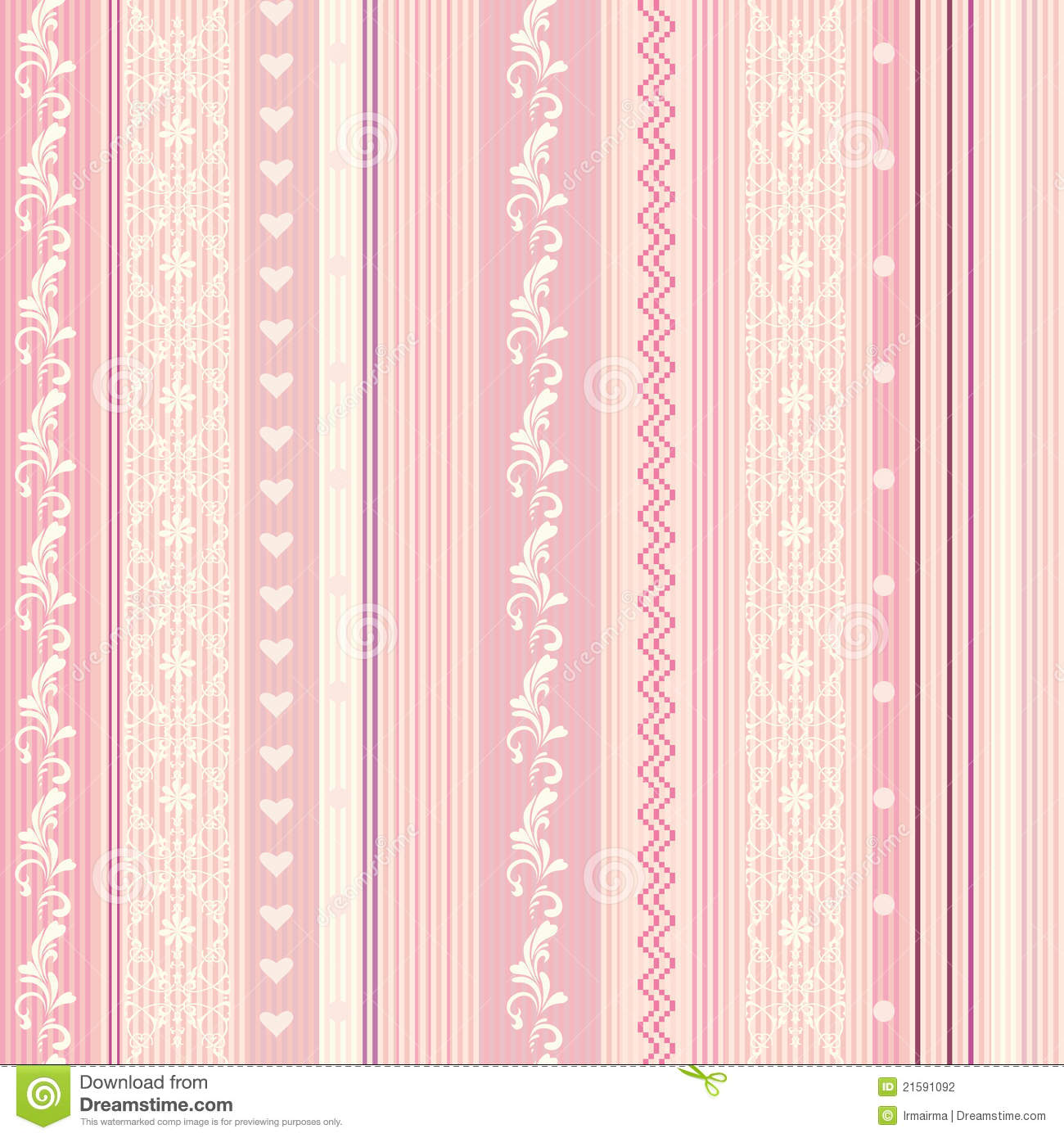 Papel de parede listrado cor de rosa de ornamenral for Papel de pared decorativo